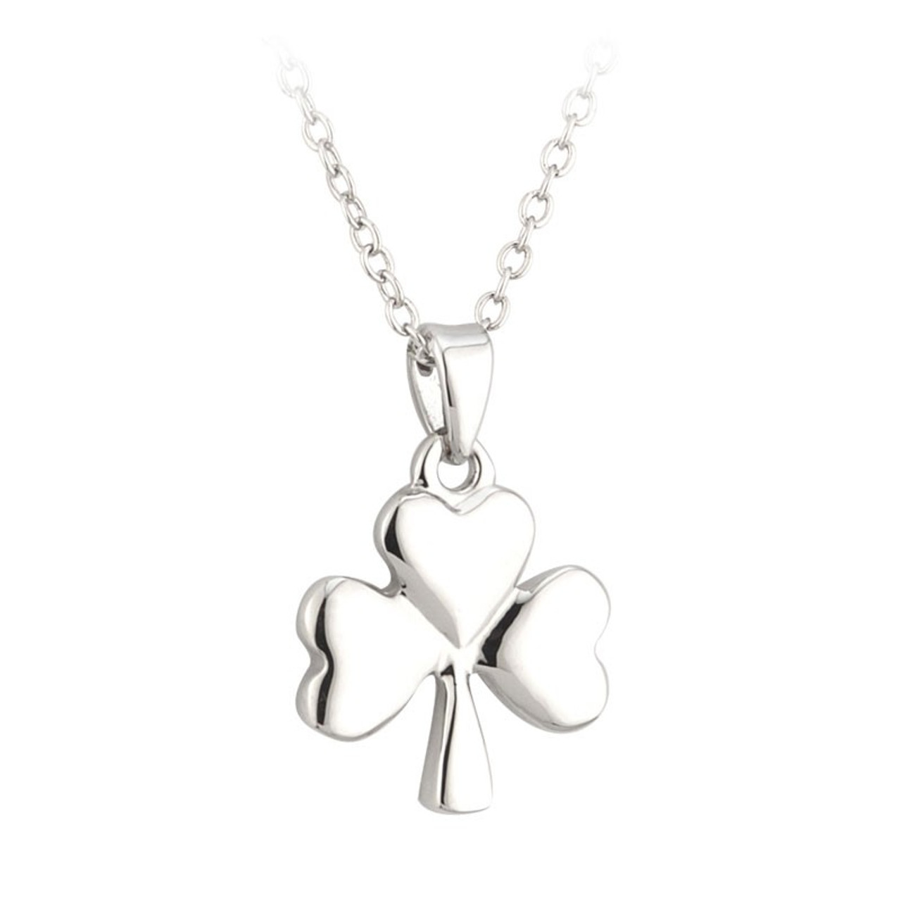 Shamrock Pendant Necklace on 18 Inch Chain