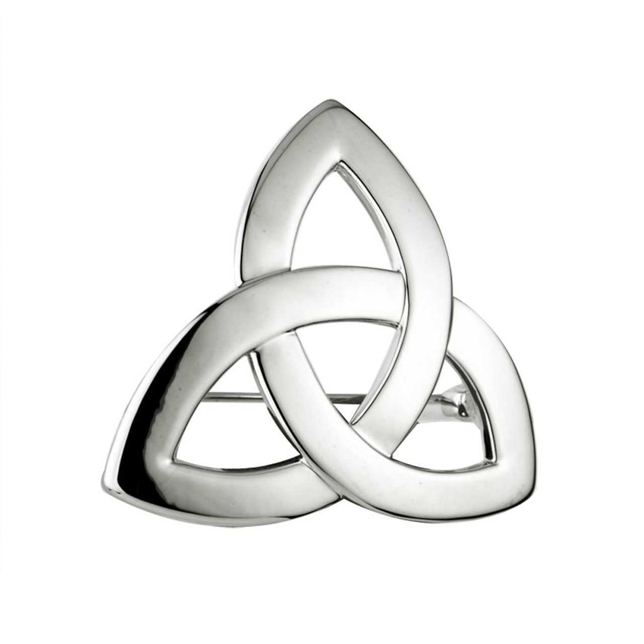 Rhodium Plated Trinity Knot Brooch
