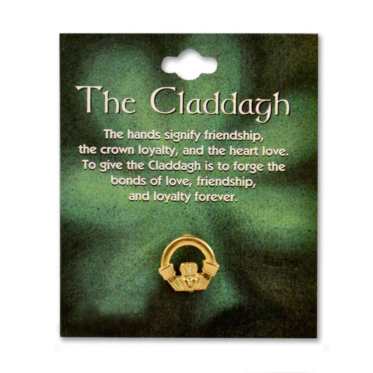 Gold Irish Claddagh Pin on Card