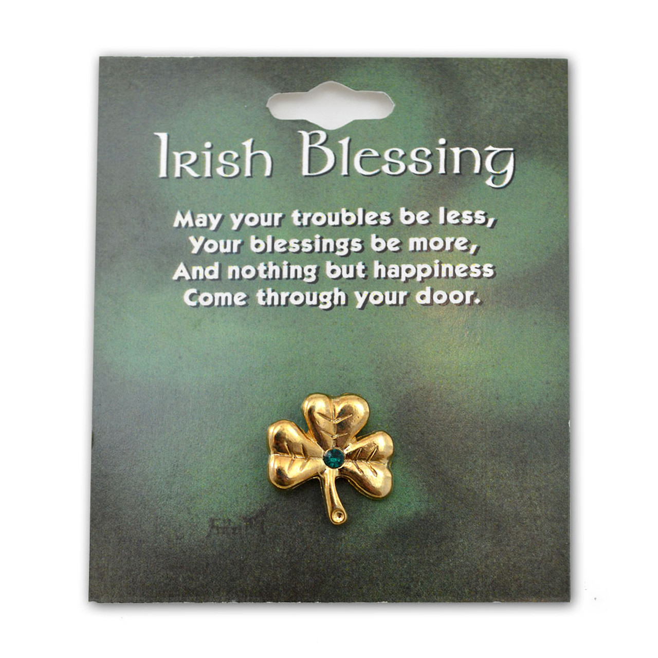 Shamrock Lapel Pin with Green Crystal