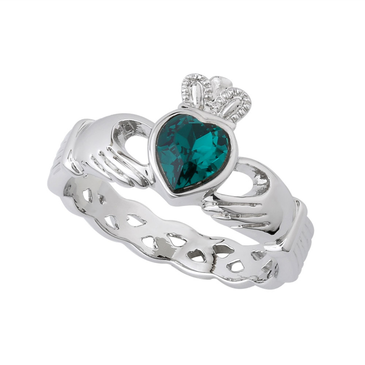 Claddagh Ring Rhodium with Green Crystal