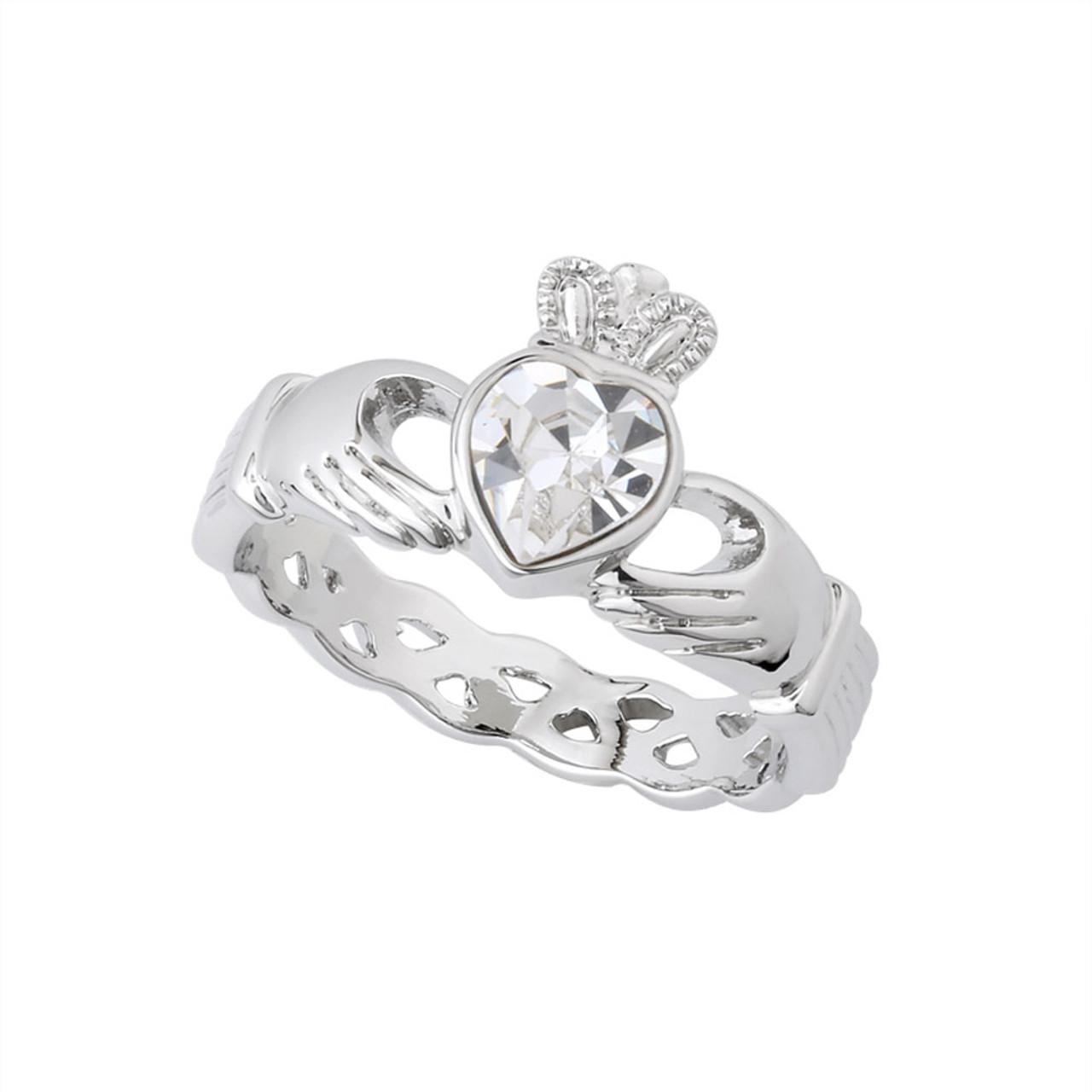 Claddagh Ring in Rhodium with Clear Crystal