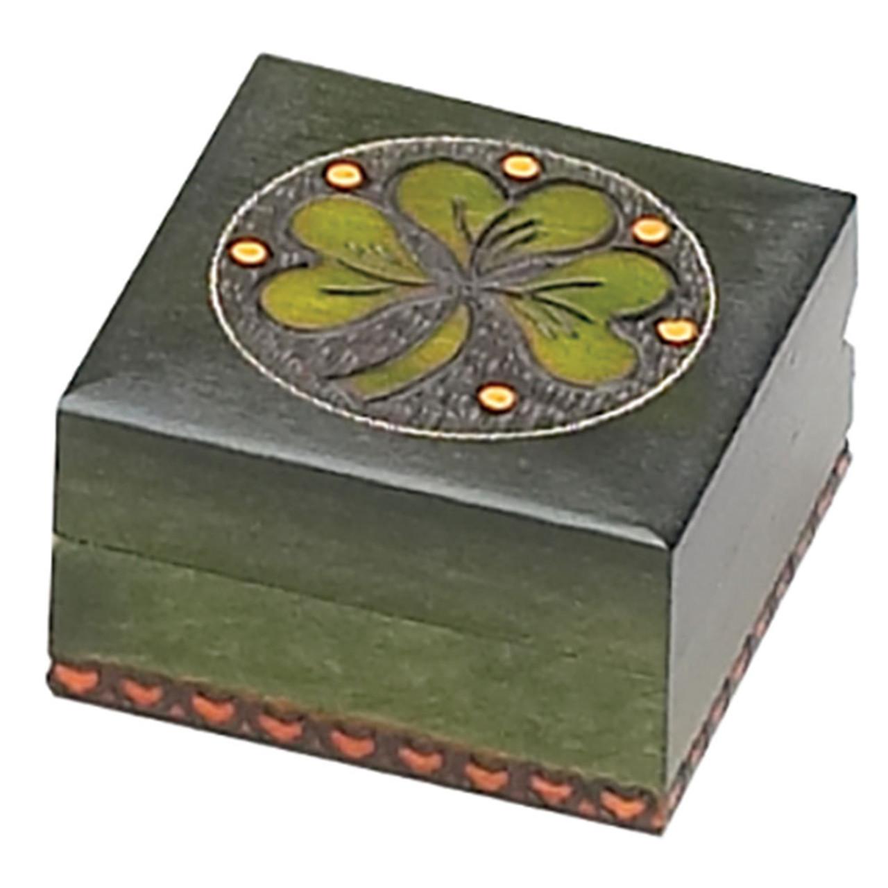 Green Wooden Keepsake Box with Shamrock