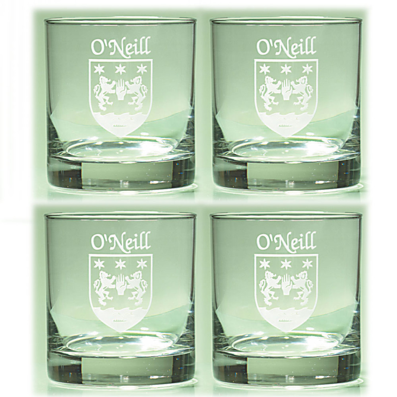 Sarsfield Irish Coat of Arms Wine Glasses Sand Etched Set of 4