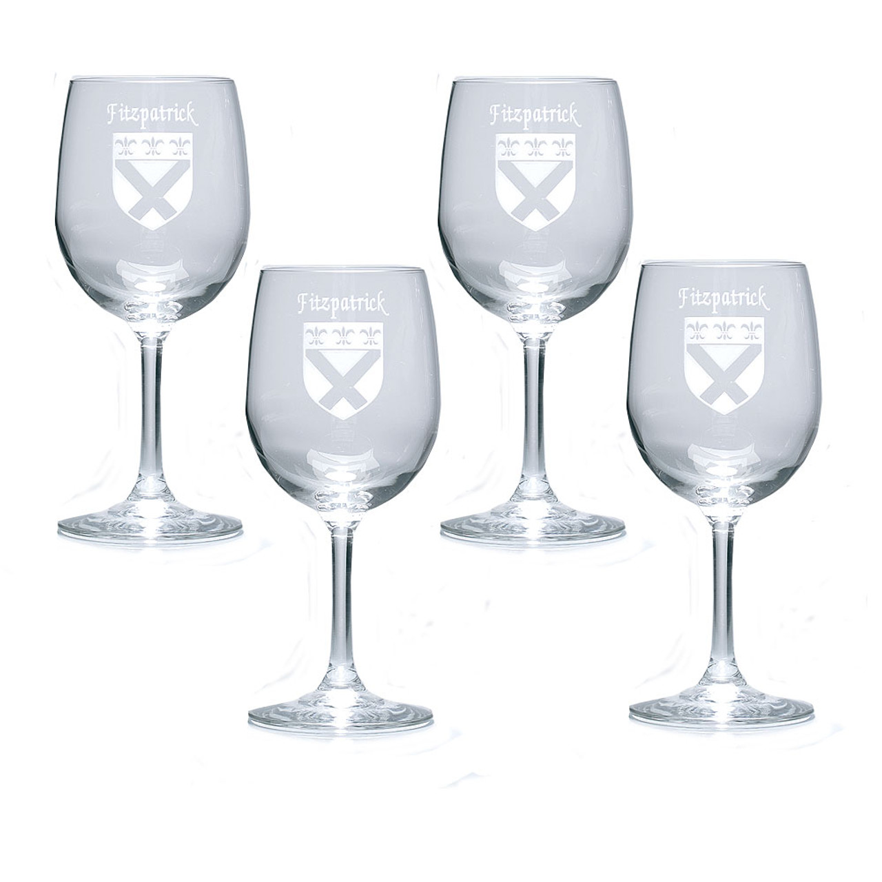 Personalized Family Name Coat of Arms Wine Glasses - Set of 4