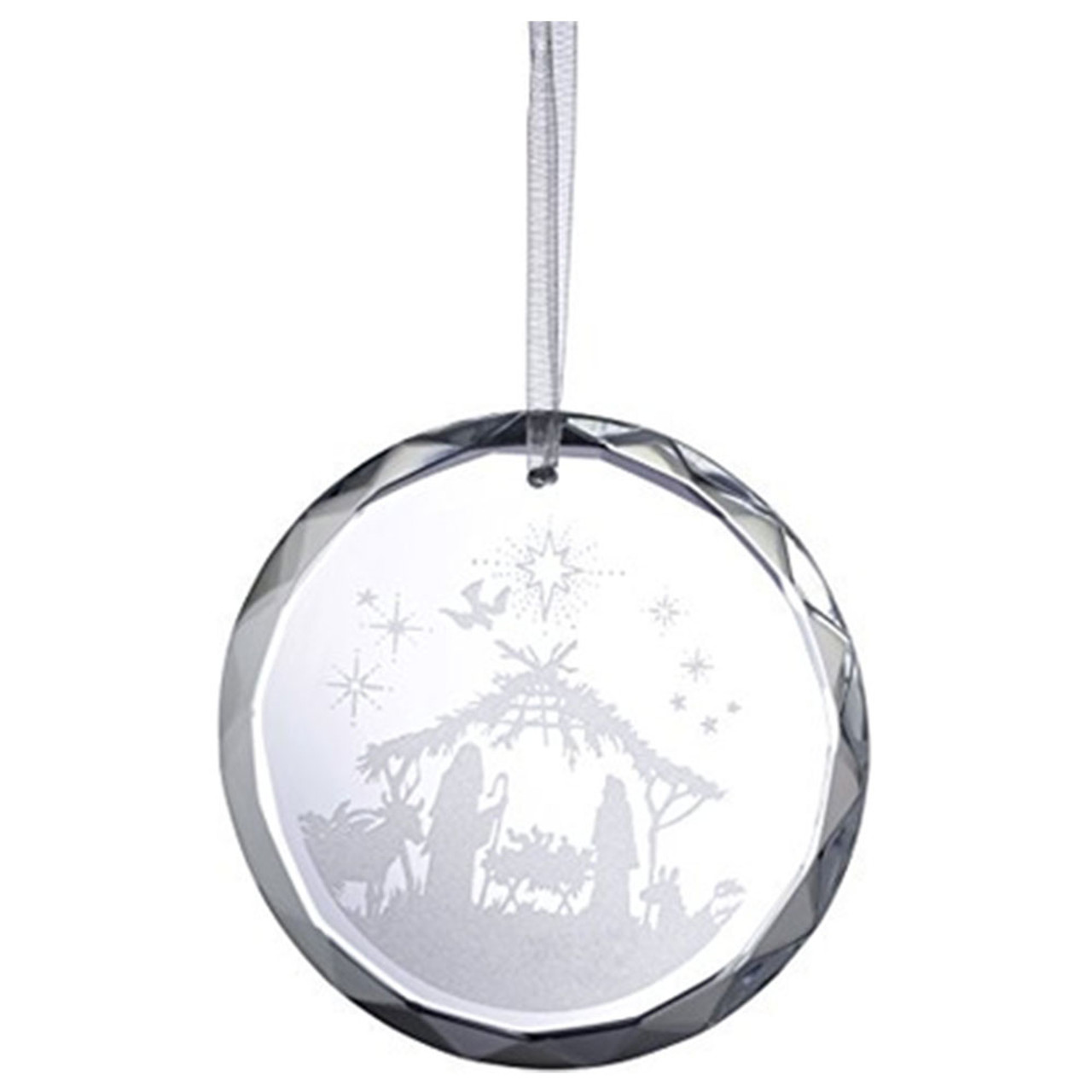 Etched Crystal Nativity Ornament from Galway