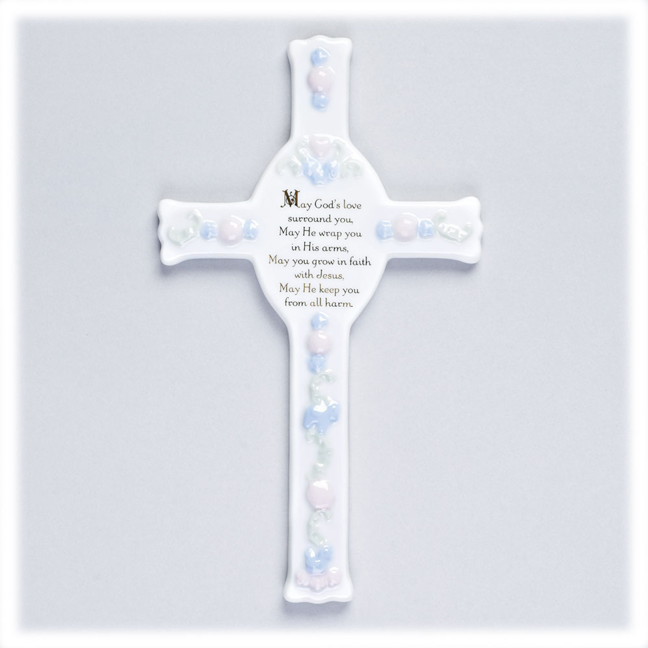 Porcelain Baby Baptism Wall Cross