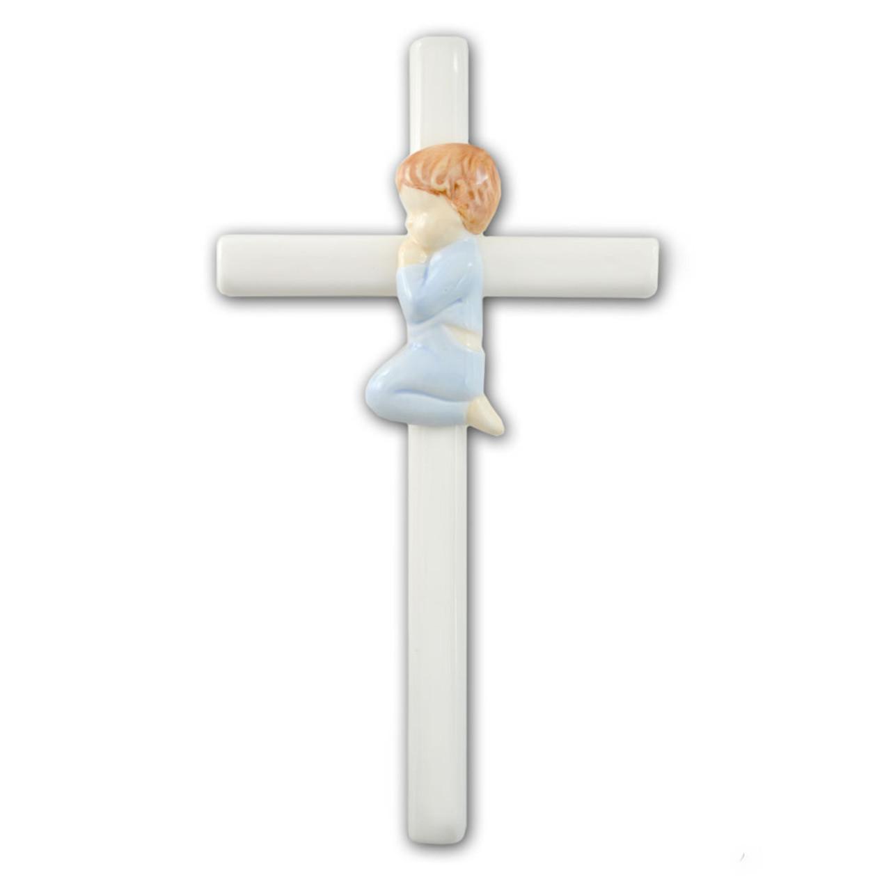 "Baby Boy Wall Cross Porcelain 7.5"""