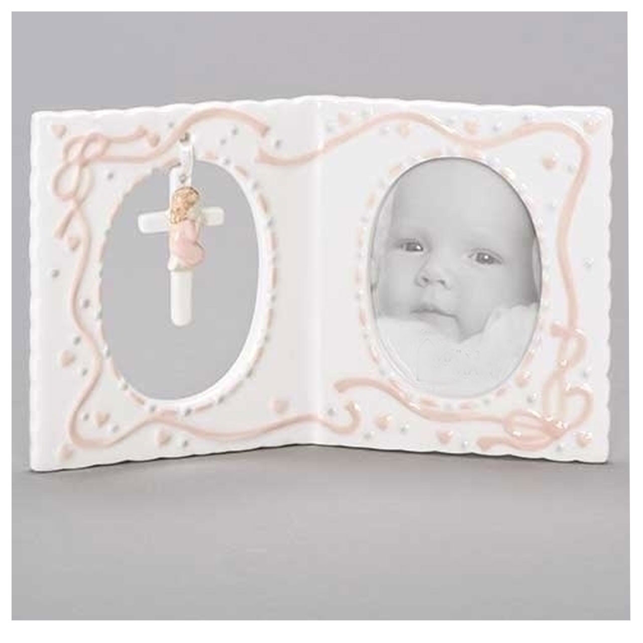 Girl's Baby Picture Frame with Hanging Baby Cross