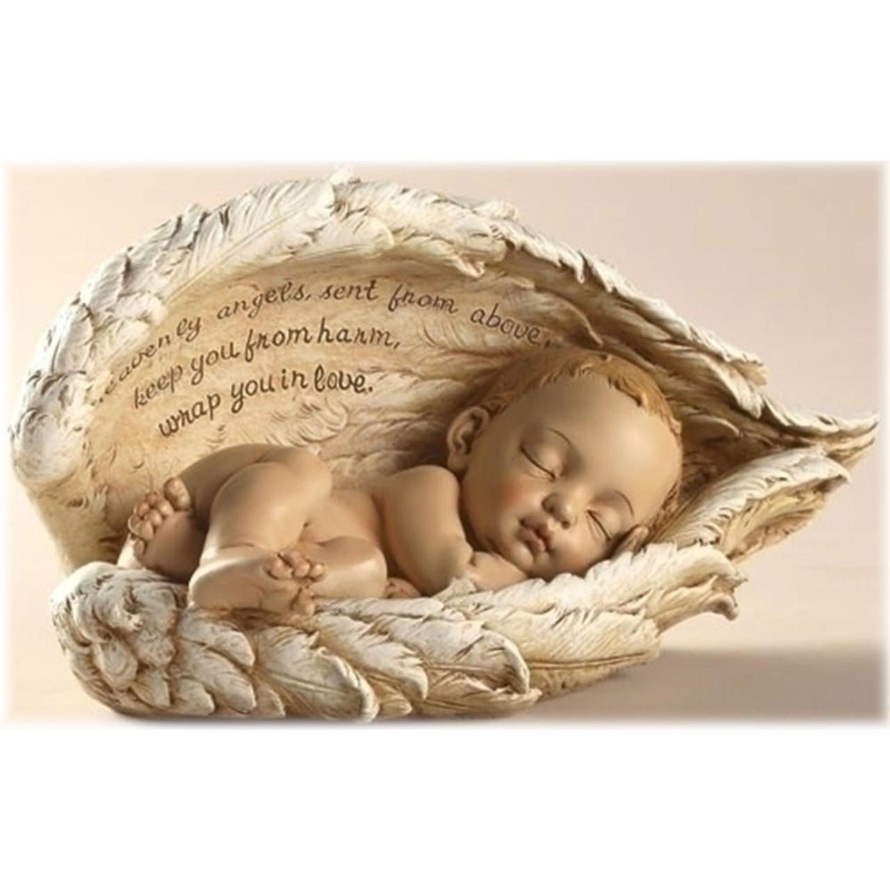 Baby Sleeping in Angel Wings Figurine
