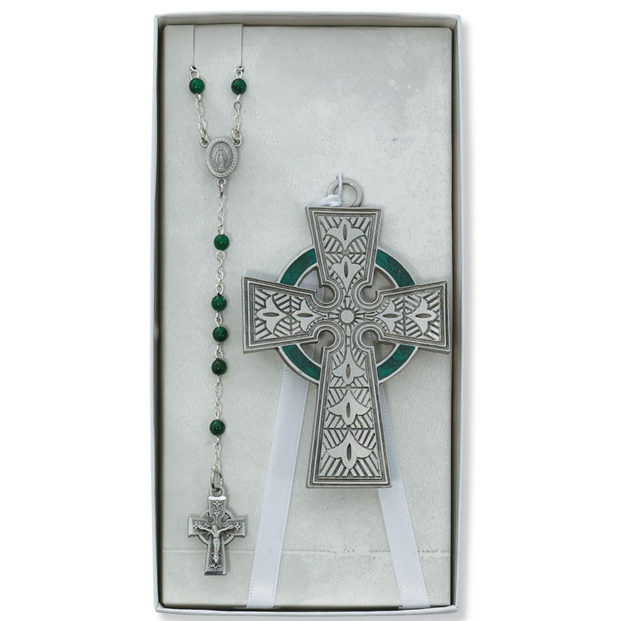 Baby Celtic Cross Crib Medal w/Green Rosary Set