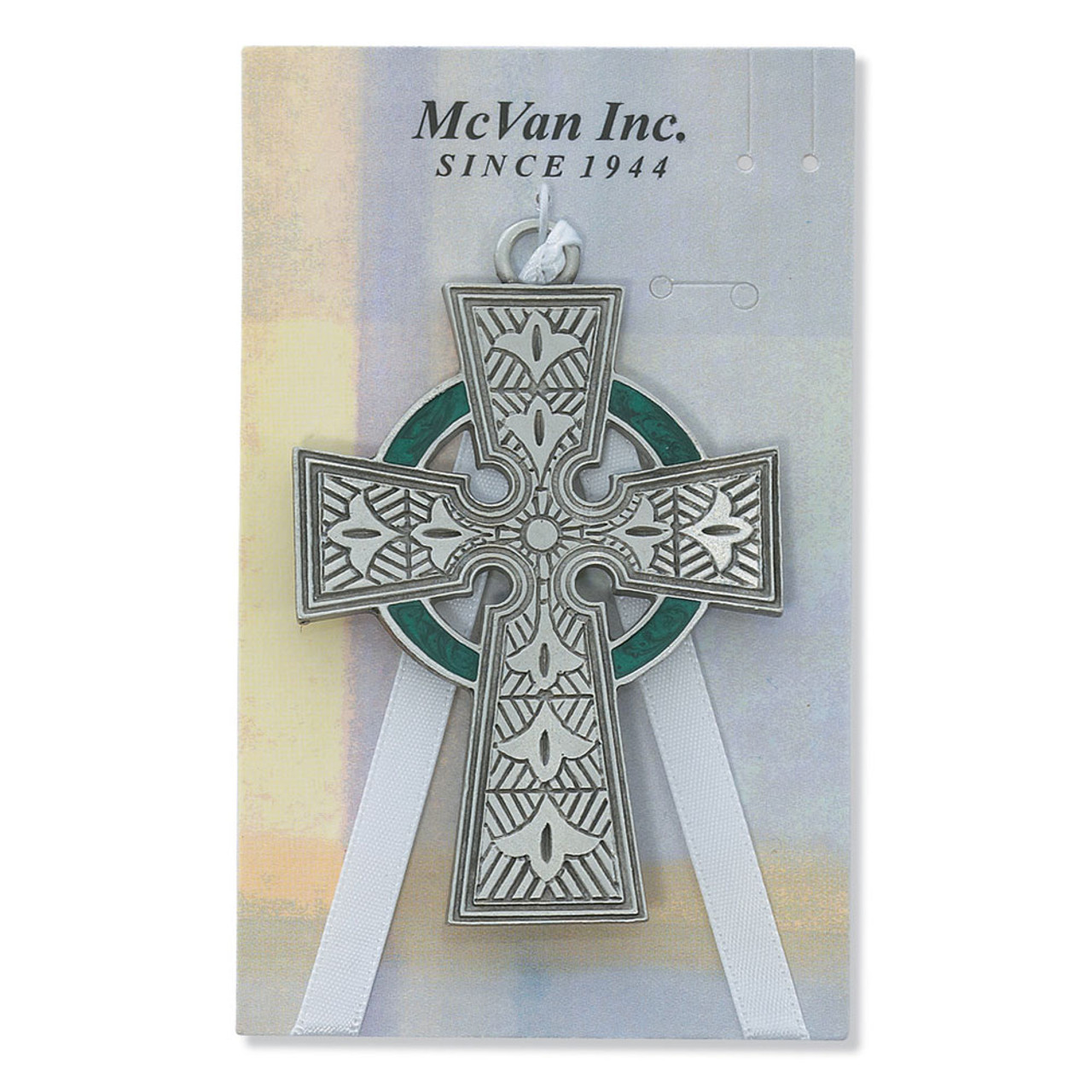 Pewter Celtic Crib Cross Ornament