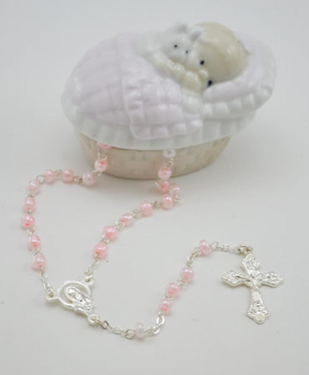 Pink Rosary Box and Rosary Baby Girl