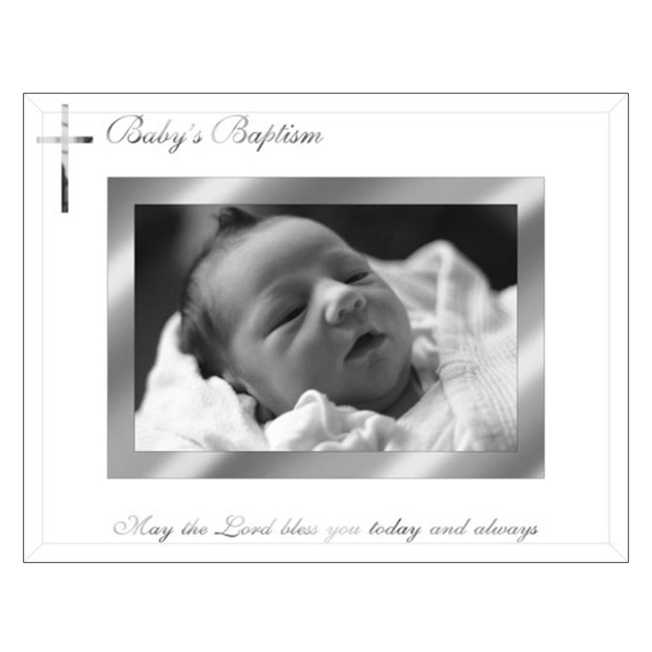 Baby Baptism Frame Under Glass 4x6Photo