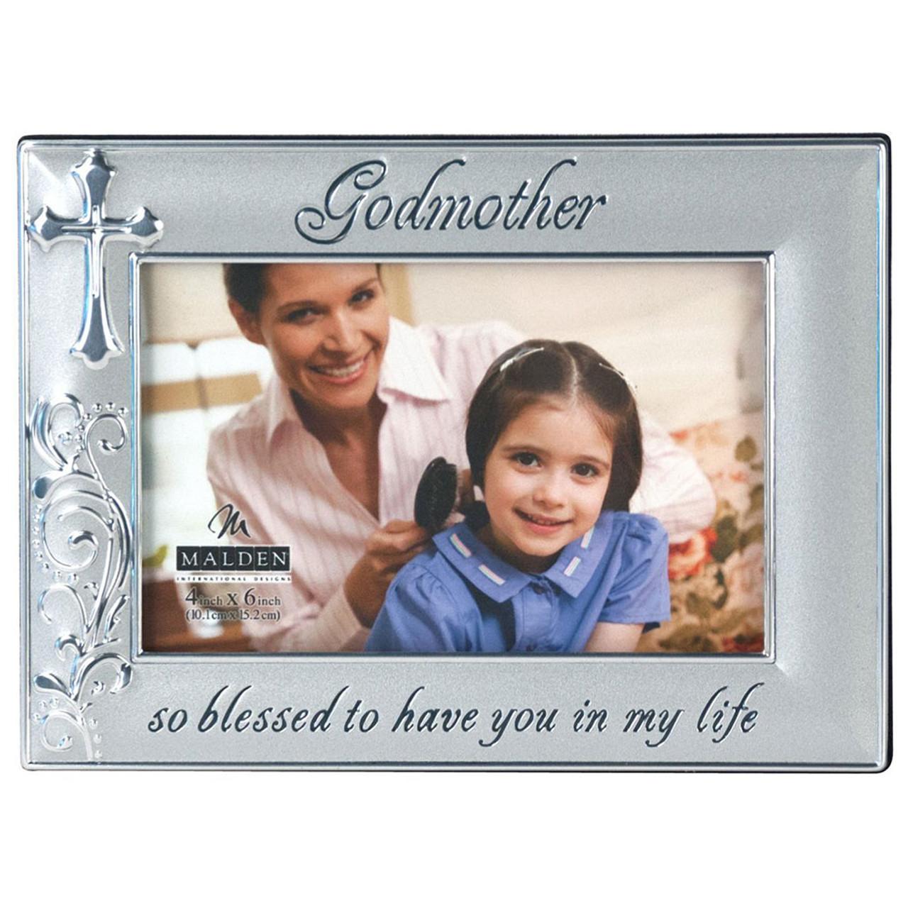Godmother Two Tone Silver Frame w/Cross 4x6
