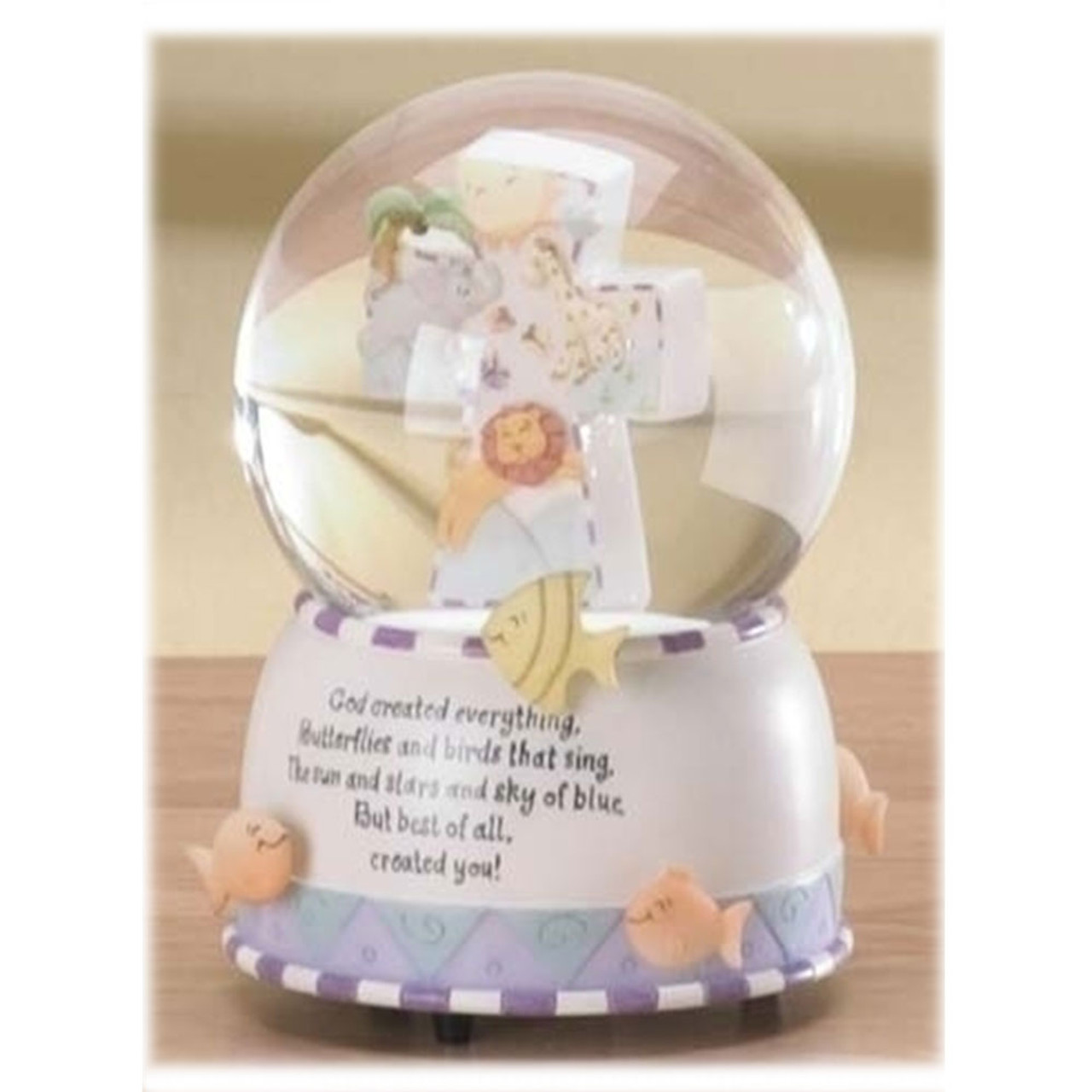 """""""God Created Everything"""" Musical Water Globe 6"""""""