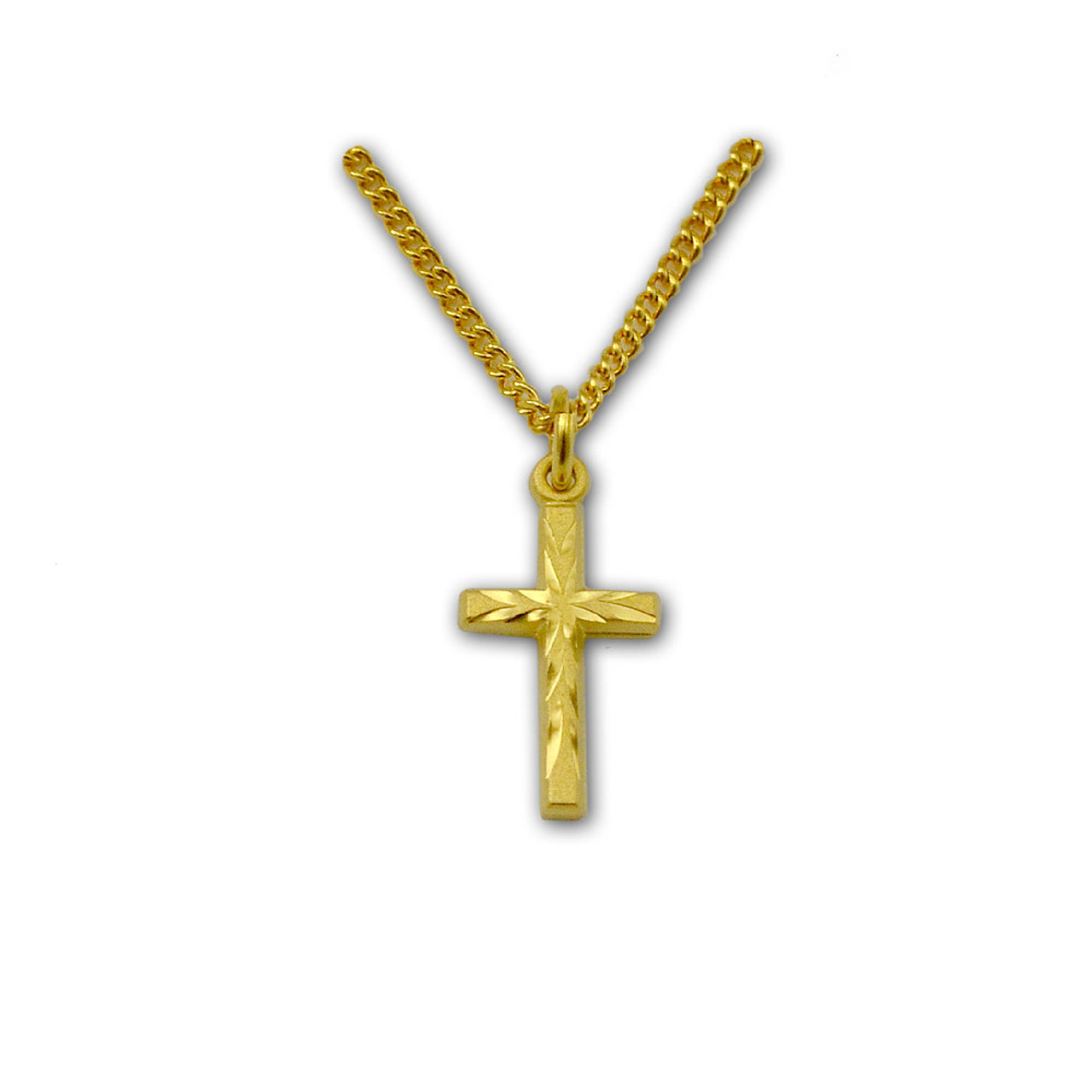 Engraved Gold Cross Baby Necklace