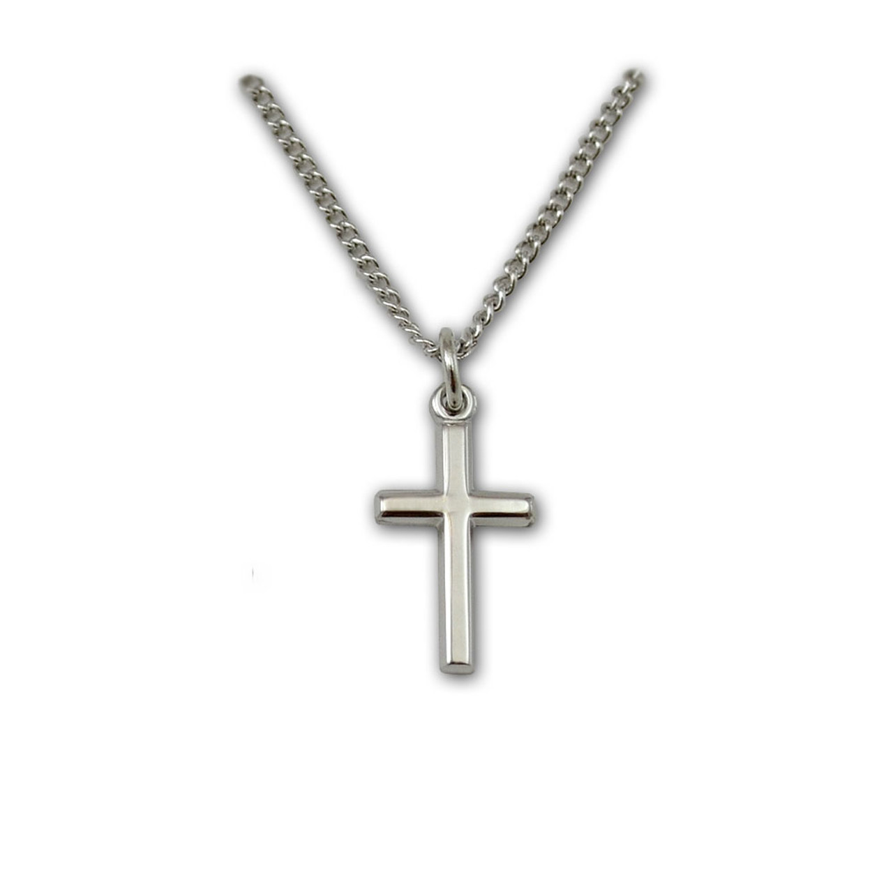 Plain Sterling Silver Cross Baby Necklace
