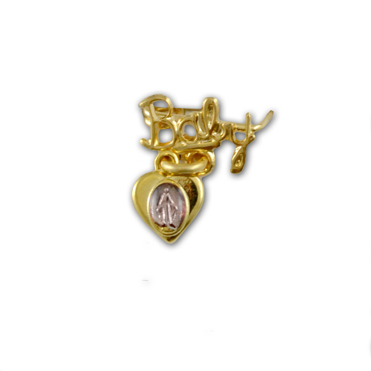 Pink Miraculous Medal Baby Pin