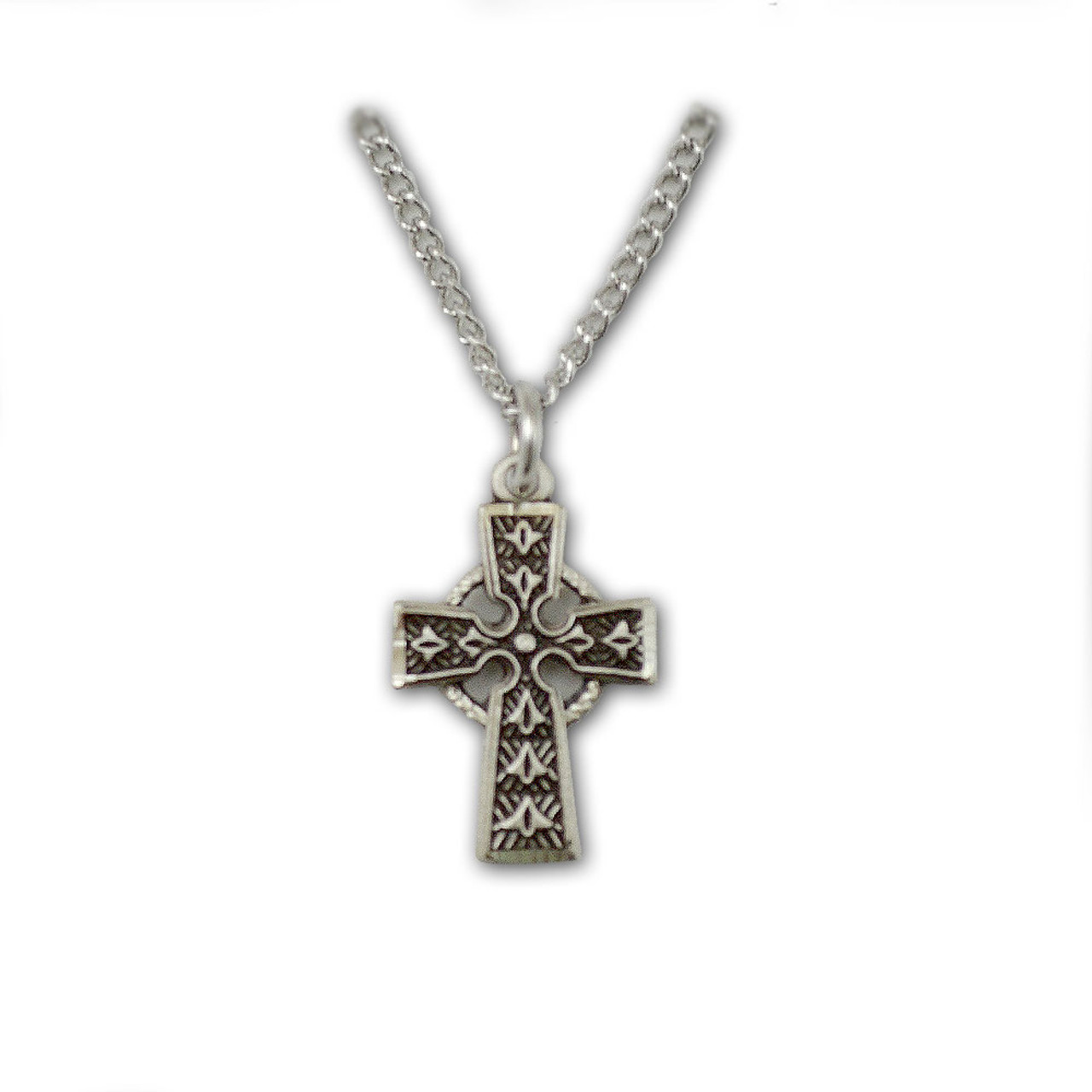 Sterling Silver Celtic Cross Necklace for Baby, 13 Inch Chain