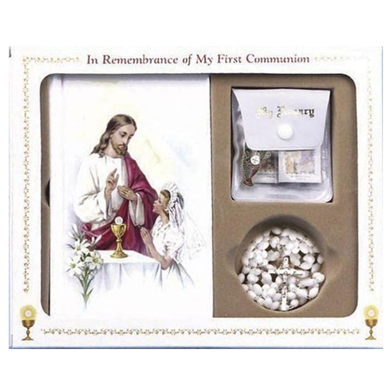 Girl's Classic First Communion White Missal Set