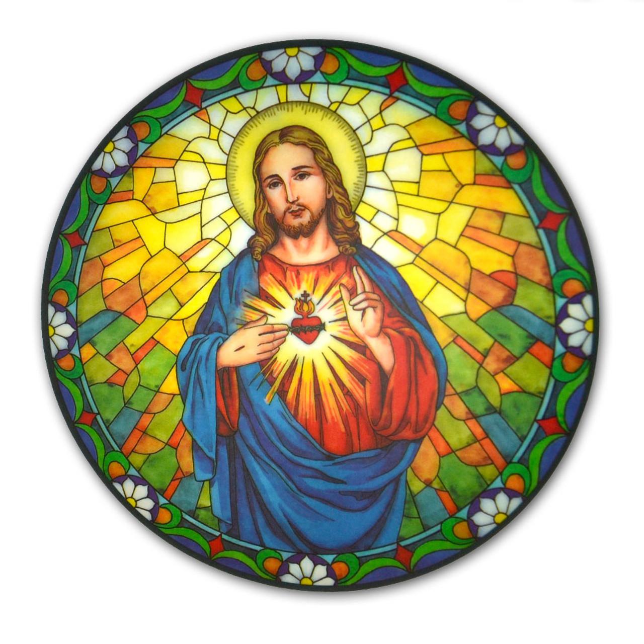 Sacred Heart Window Sticker Suncatcher for Glass