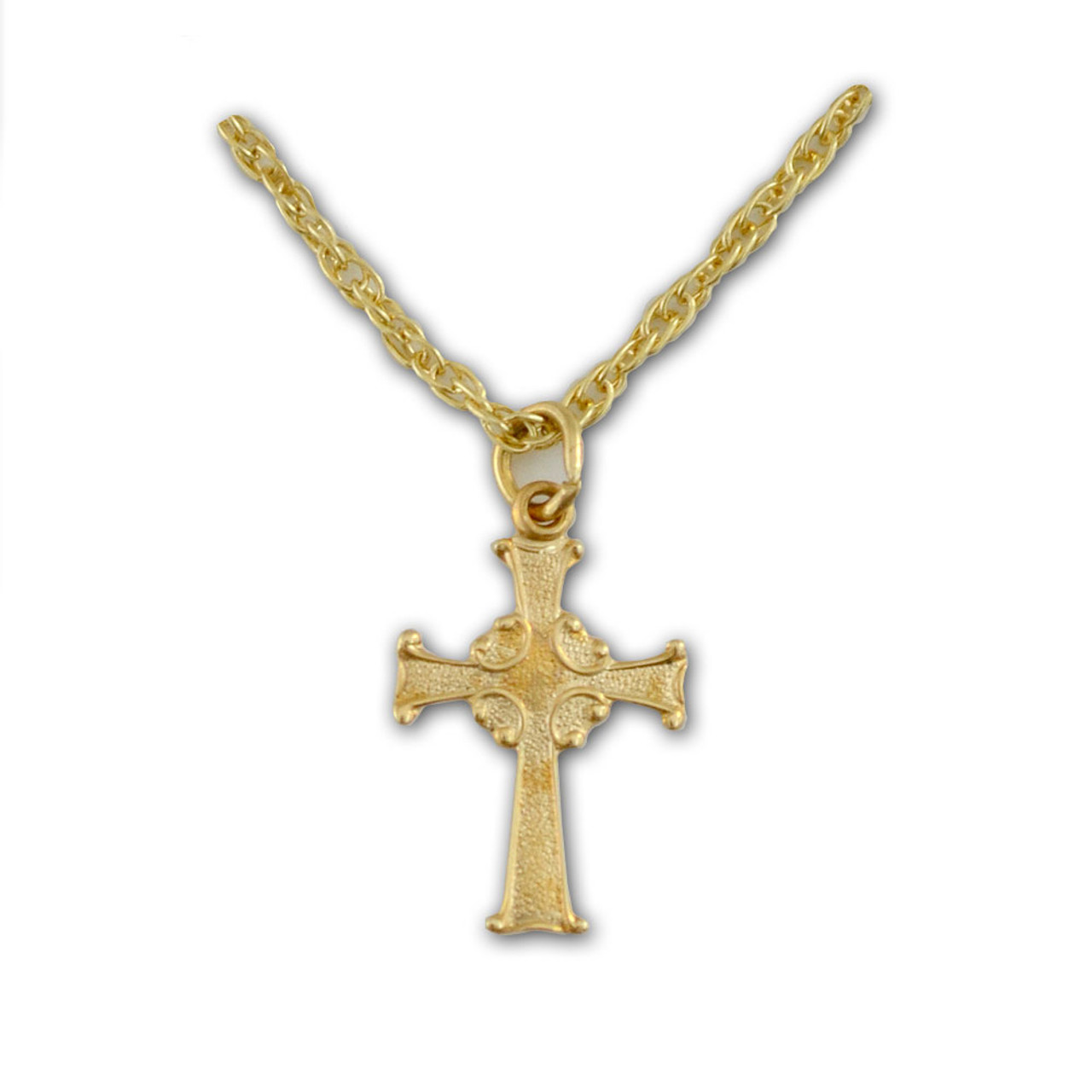 """Baby/Child 14 Kt Celtic Cross Necklace 15"""" Chain"""
