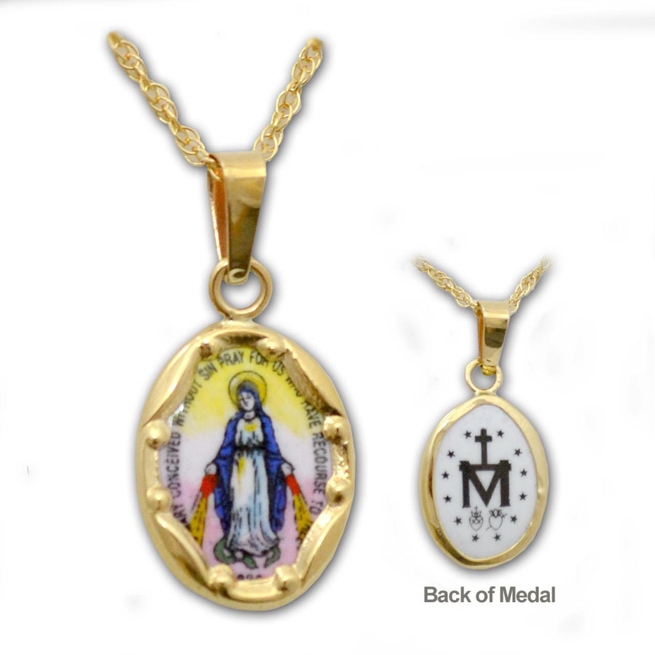 14Kt Miraculous Medal Necklace w/Enamel Detail