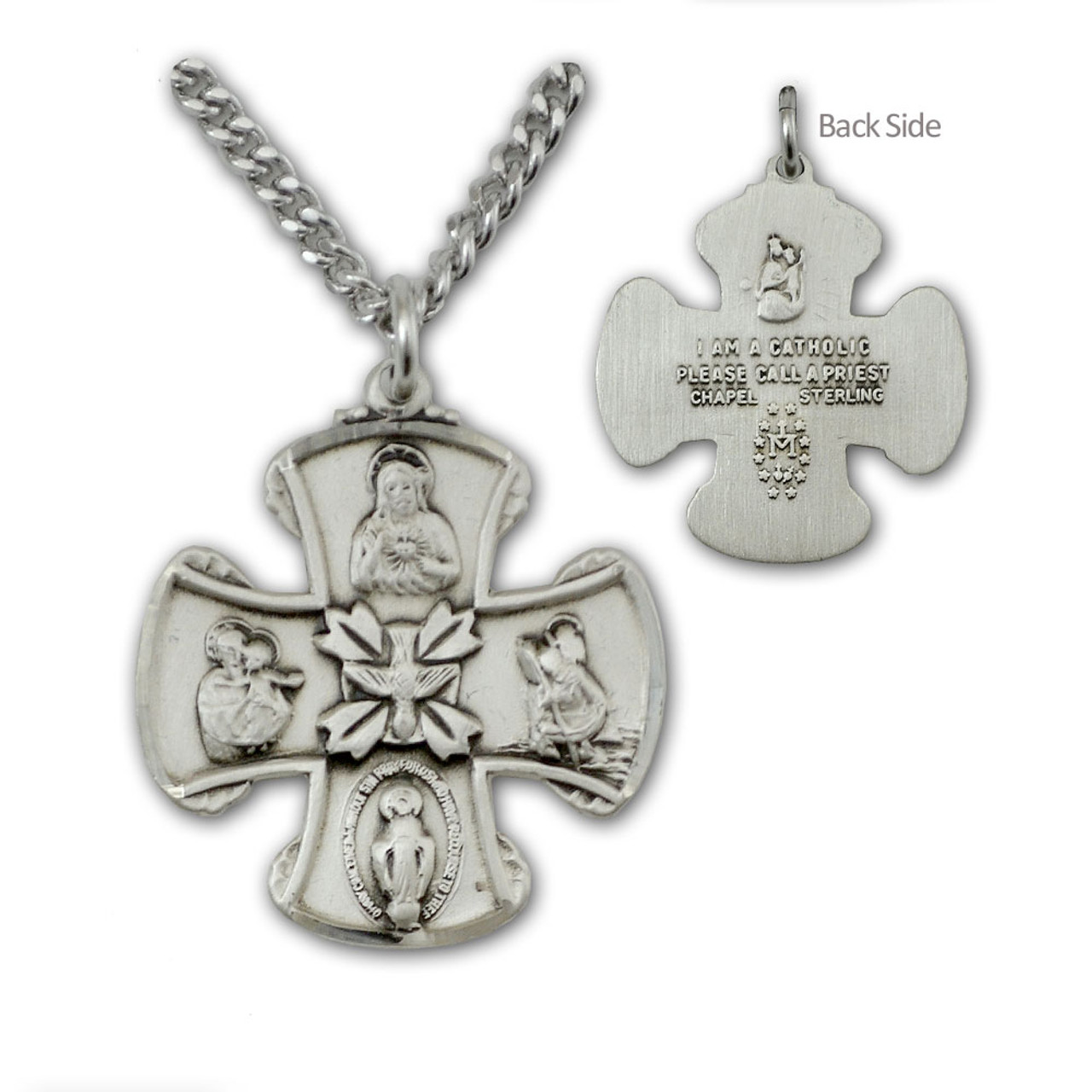 """SS Mens 4 Way Medal Necklace, 24"""" Chain"""