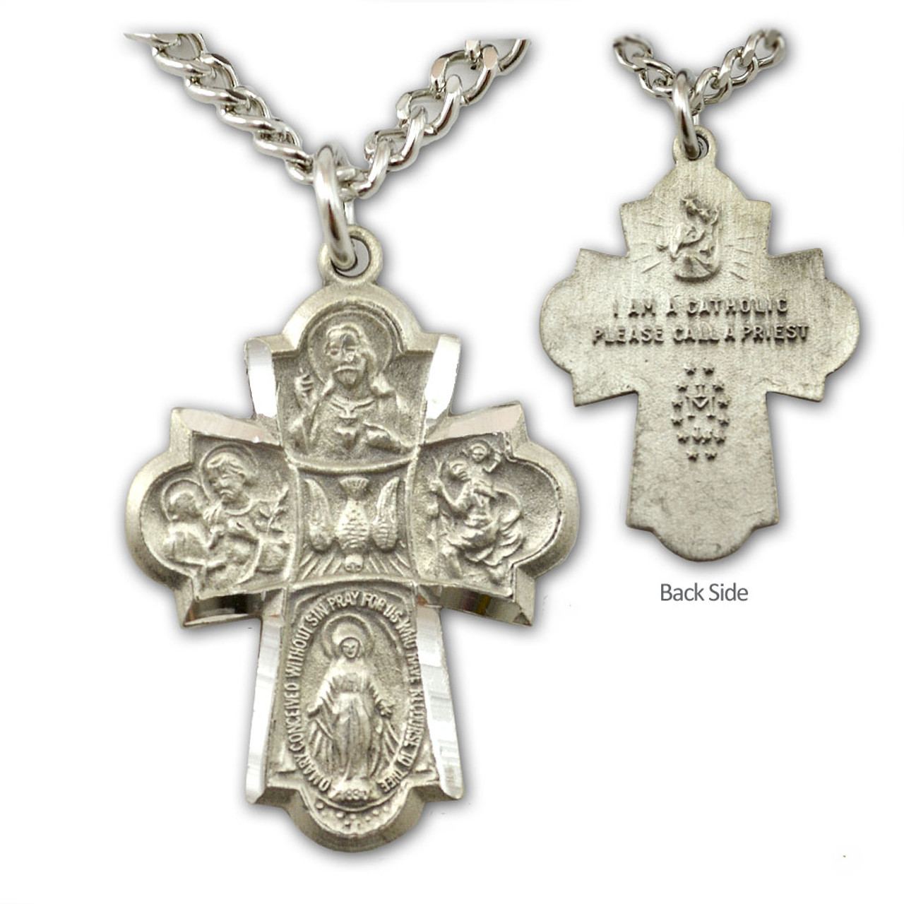 """Pewter Men's 4 Way Medal Necklace, 24"""" Chain"""