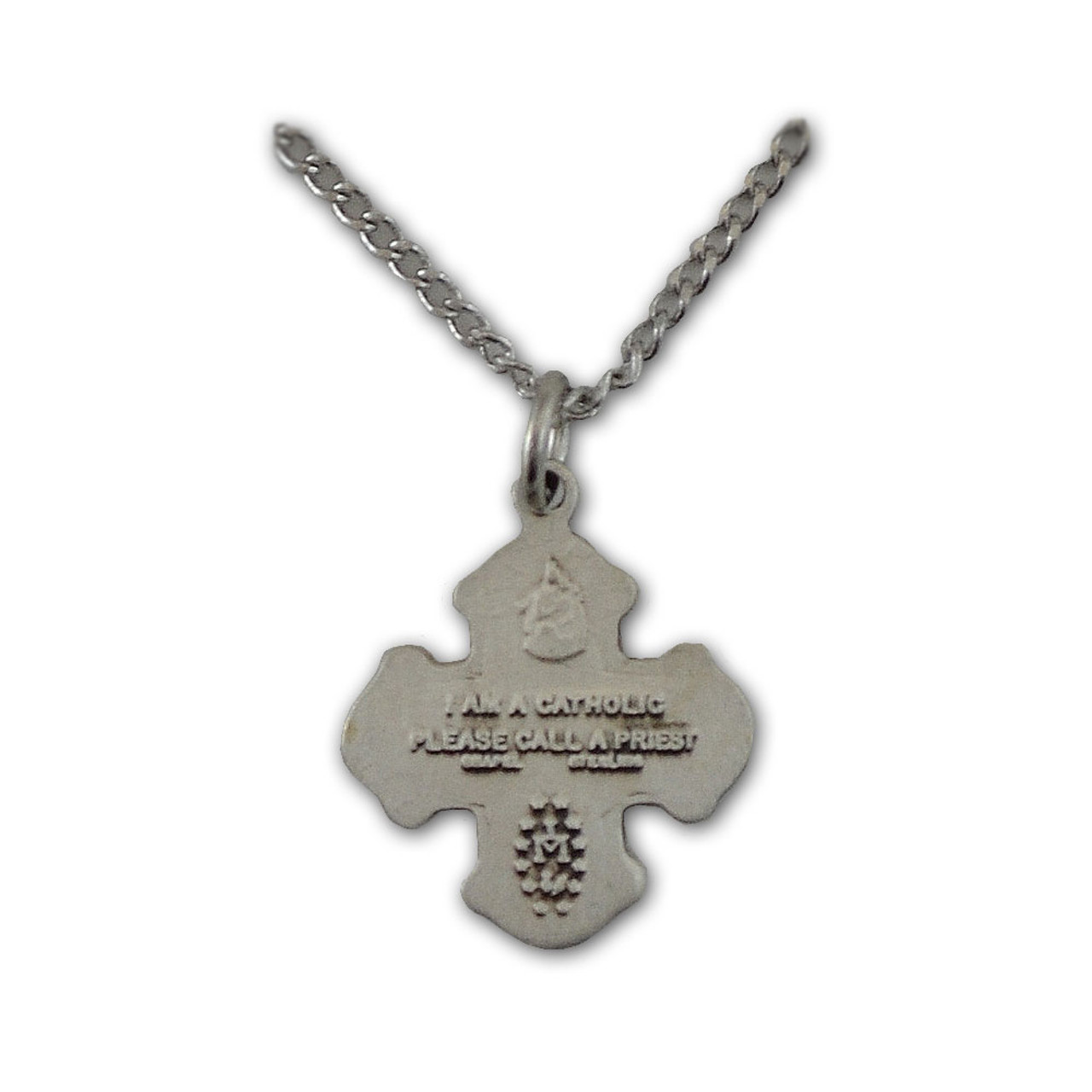 "Sterling Silver 4 Way Medal Necklace, 16"" Chain"