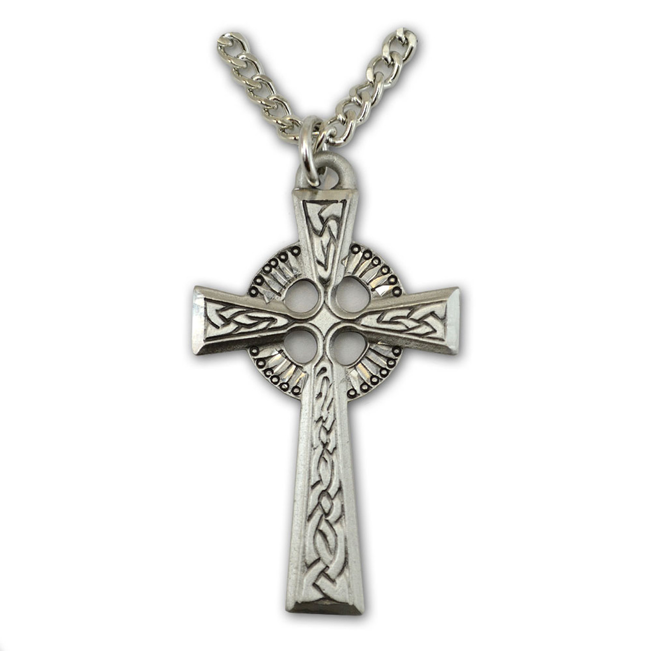 Pewter Celtic Cross Necklace, 24 Inch Chain