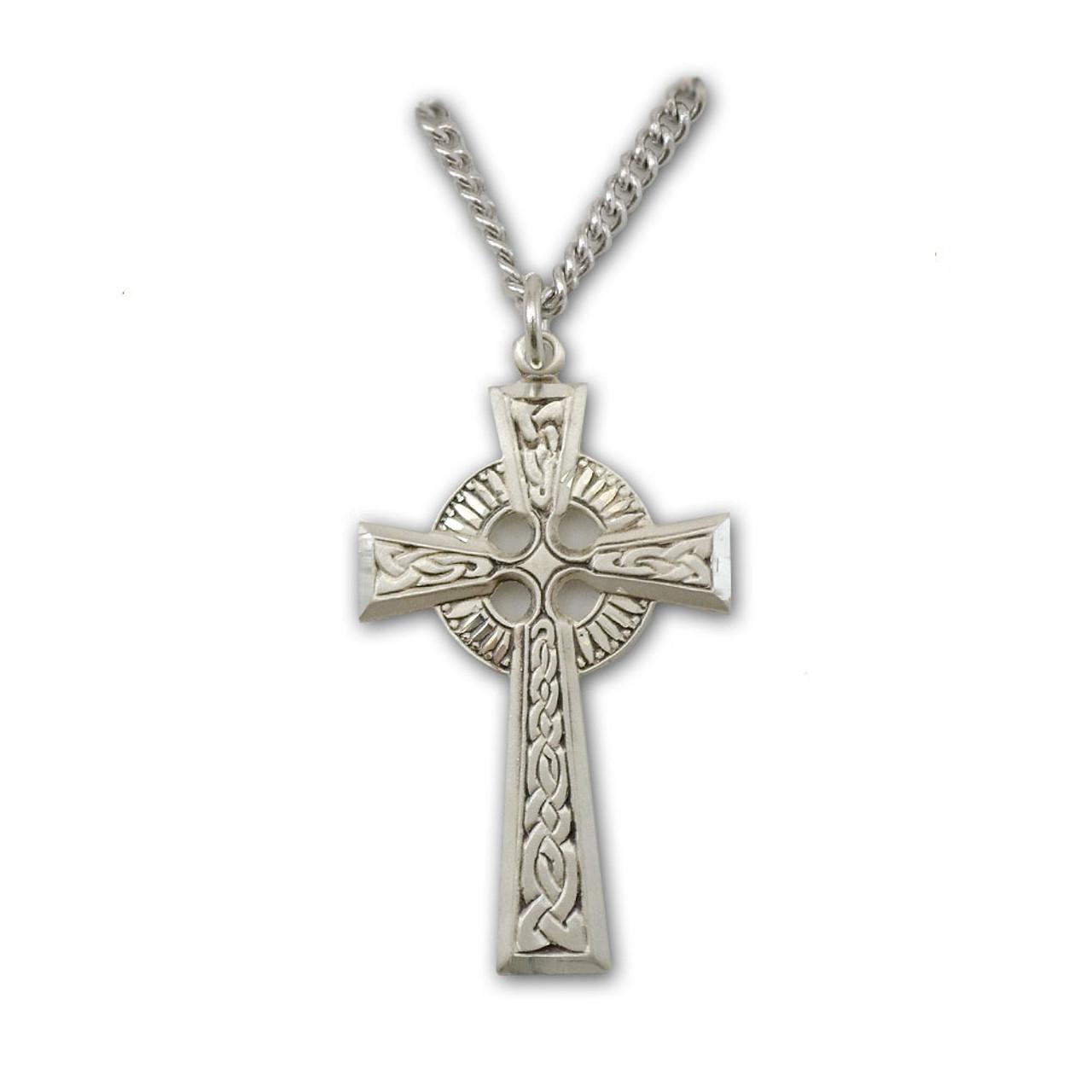 Irish Celtic Cross Necklace, 24 Inch Chain