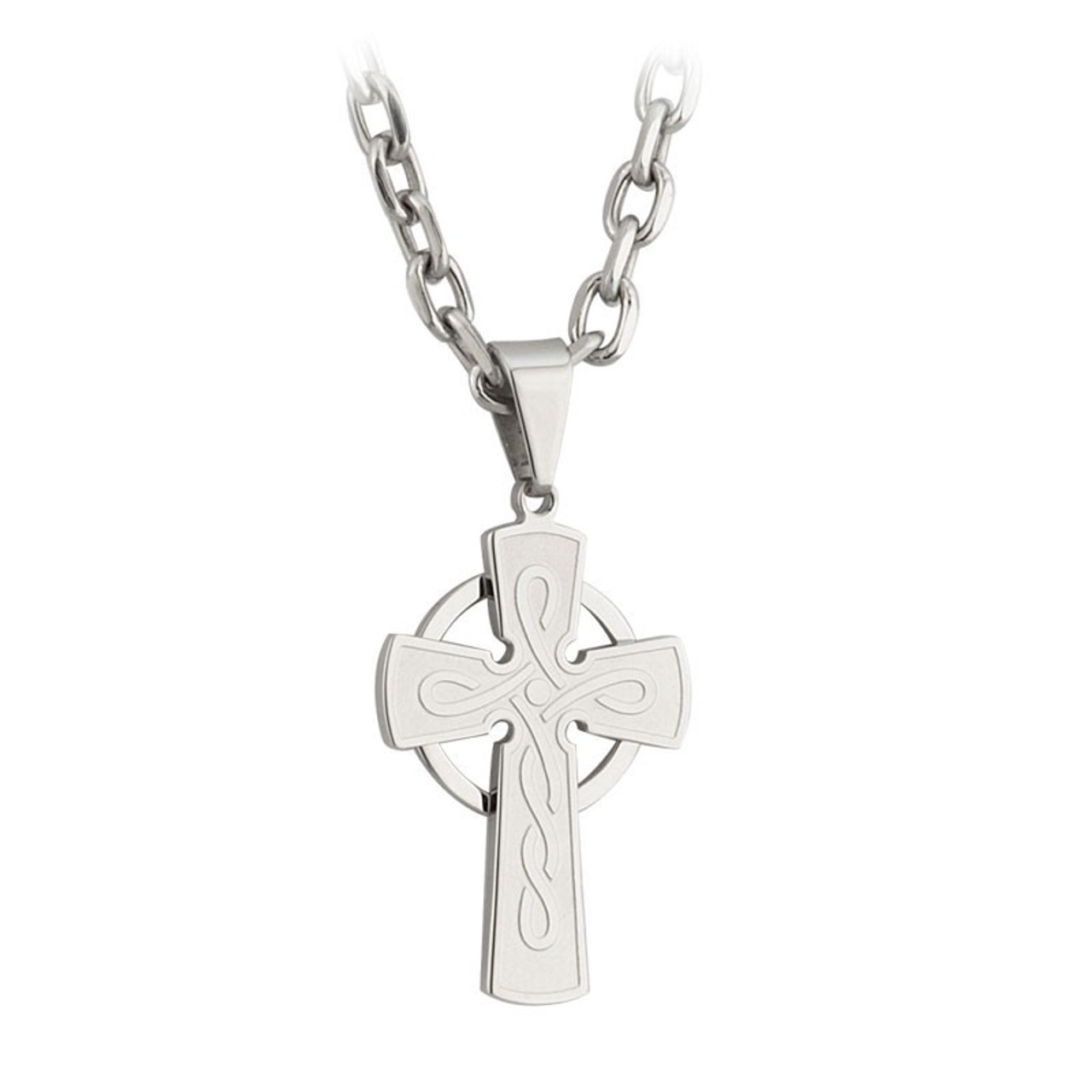 """Stainless Steel Celtic Cross Pendant hanging on an 18"""" chain made by Solvar of Ireland"""