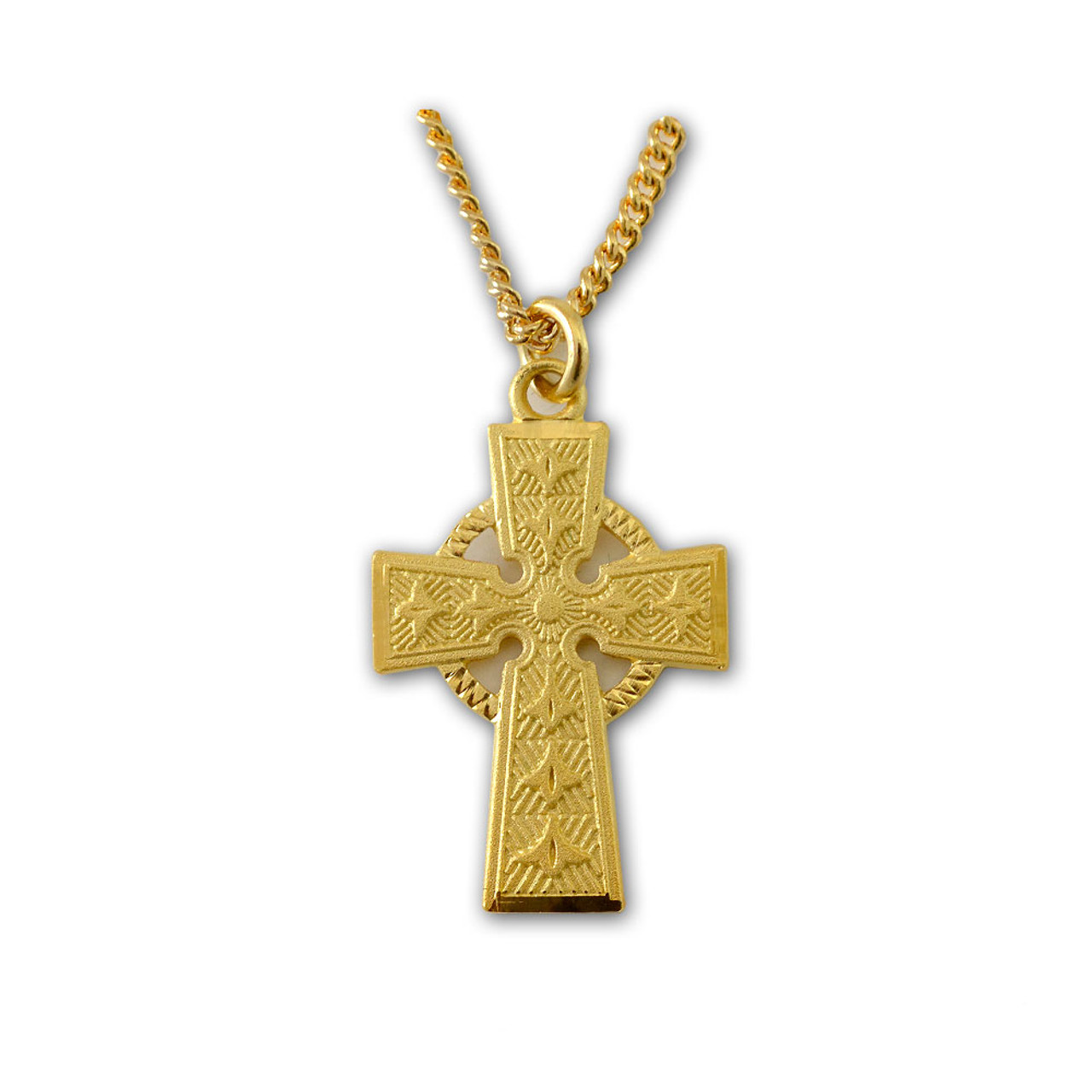 Gold Celtic Cross, 18 Inch Chain