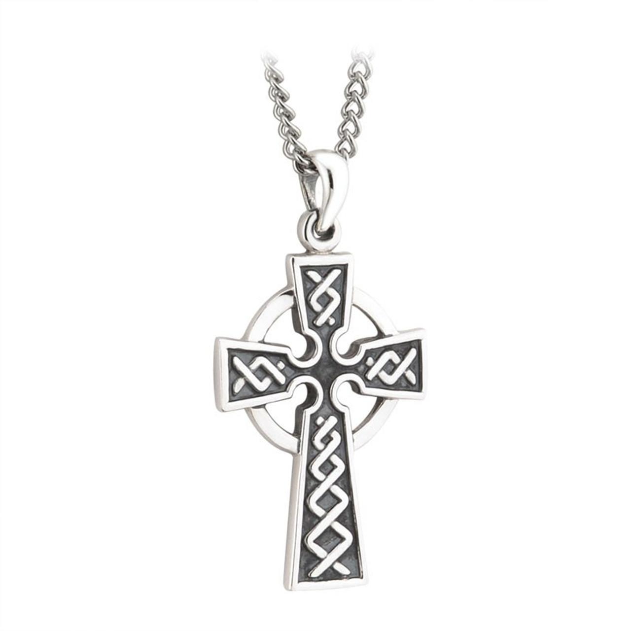 """Sterling Silver Celtic Cross Pendant 1-1/4"""""""