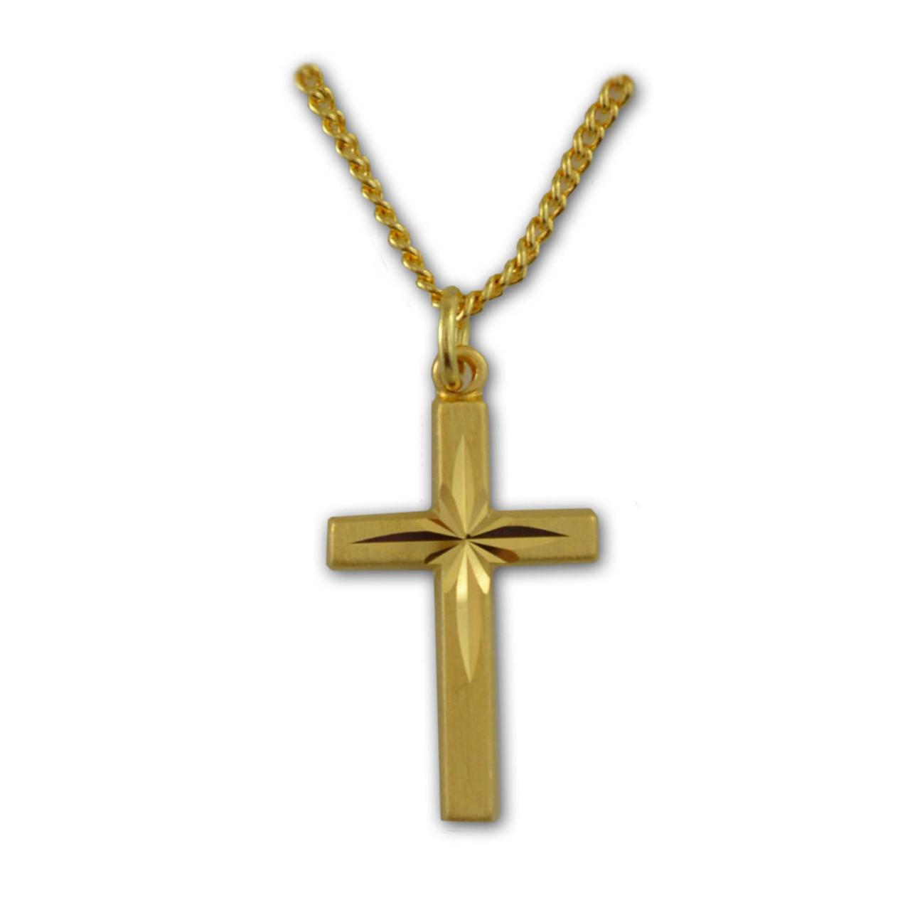 Gold Starburst Cross Pendant
