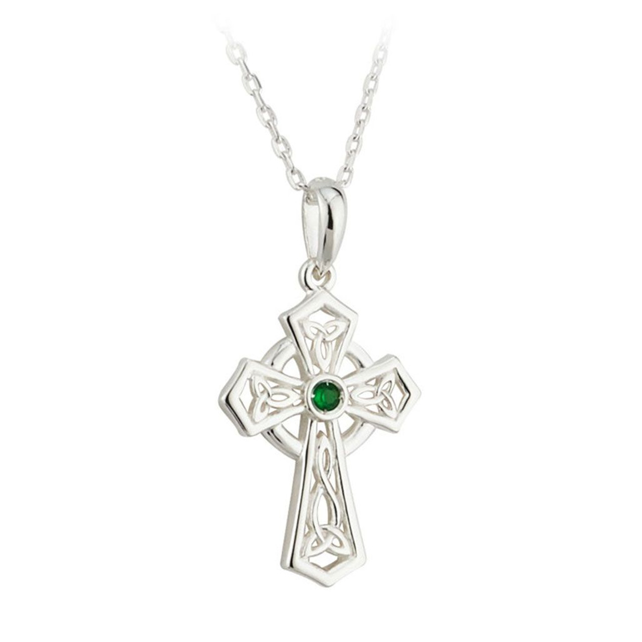 Sterling Silver Cross Pendant with Green Crystal