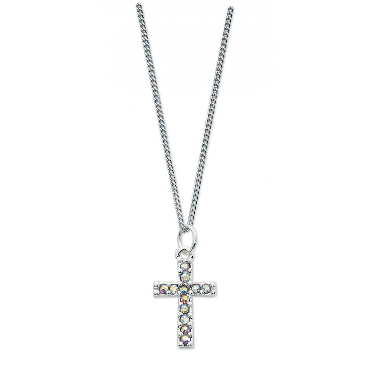 Crystal Cross Pendant on 16 IN Rhodium Chain