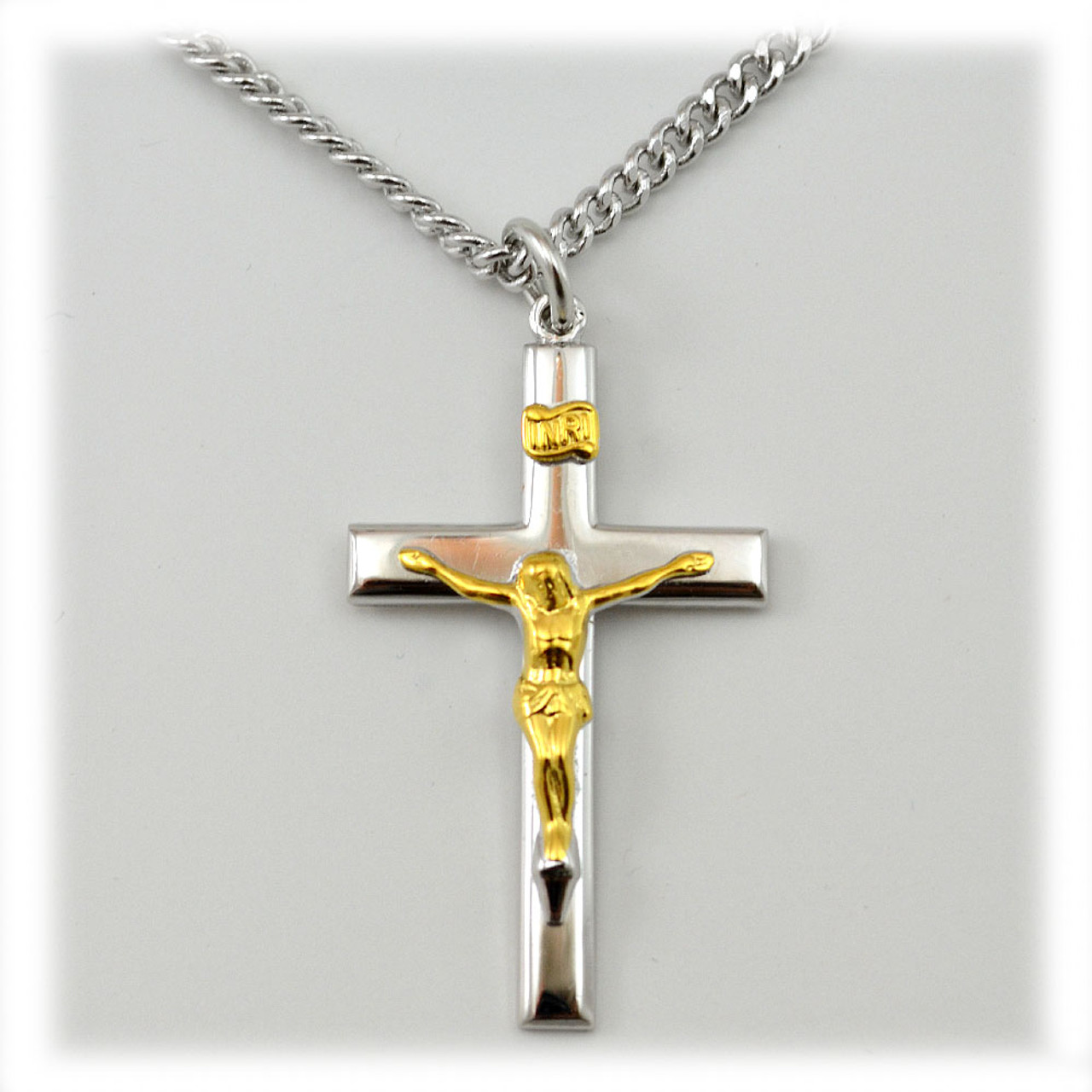 2-Tone Large Crucifix Necklace