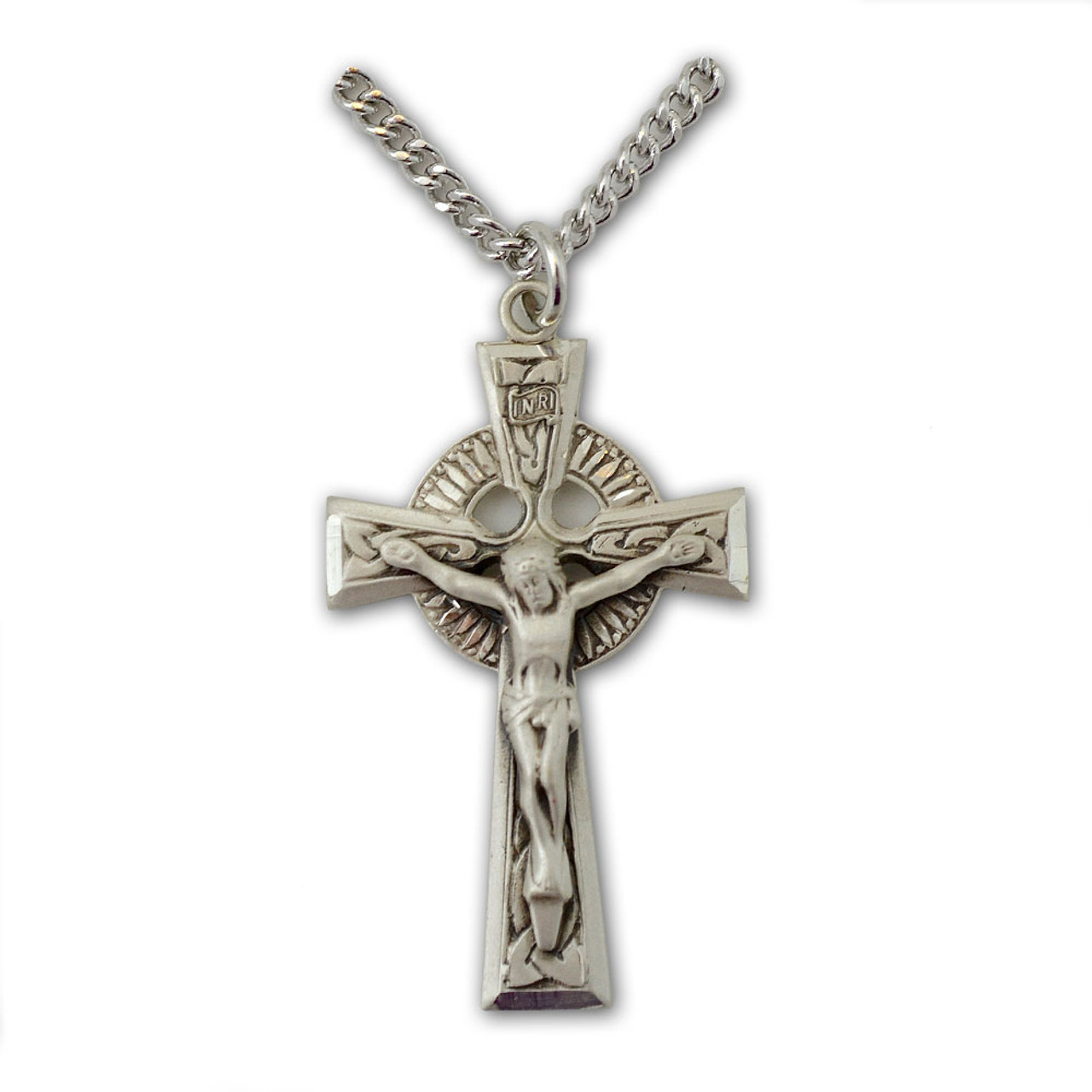 Men's Celtic Cross Crucifix Necklace SS, 24 IN Chain
