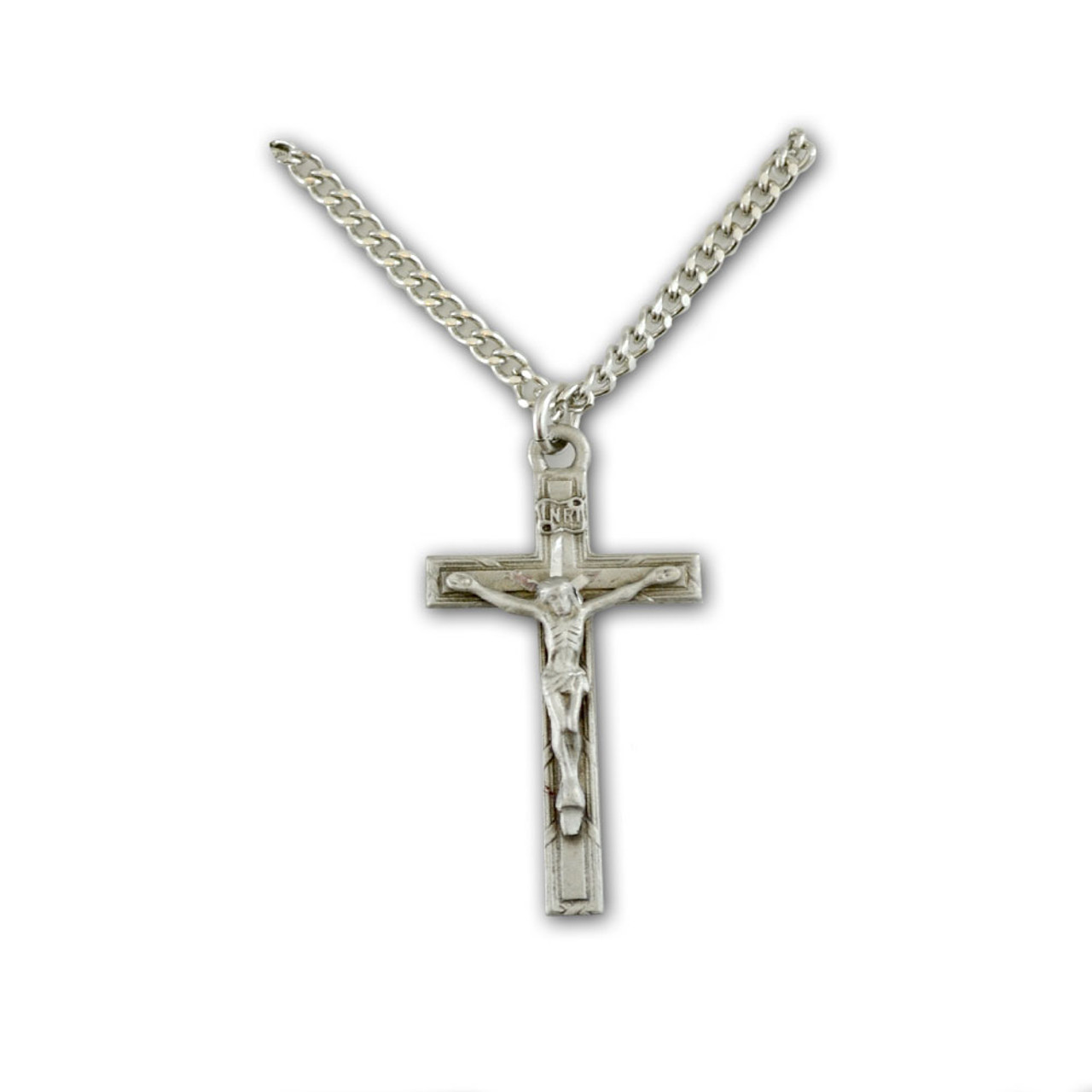 """Pewter Crucifix Necklace, 24"""" Chain"""