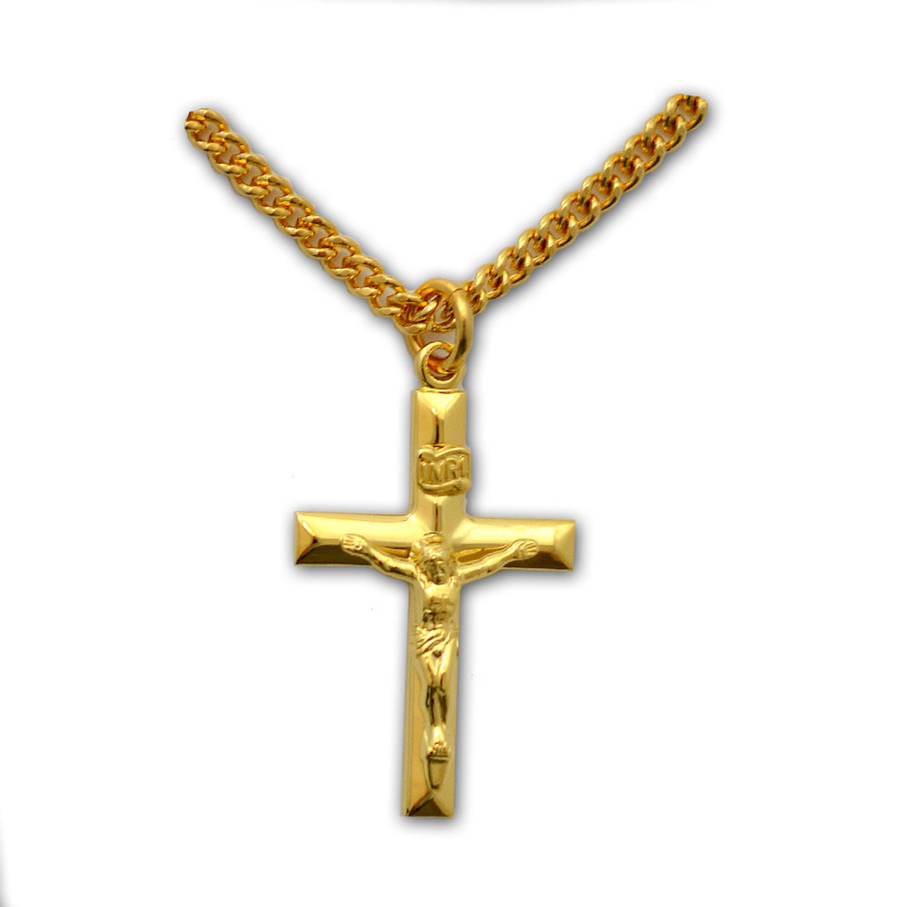 Gold-Filled Men's Crucifix Necklace, 24 inch chain