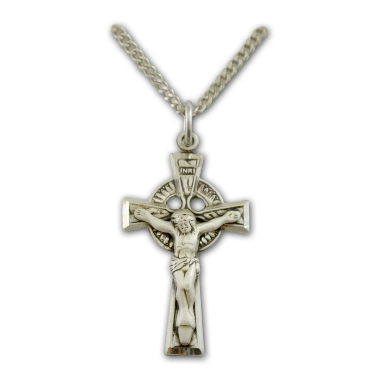 Celtic Crucifix Necklace Sterling, 18 IN Chain