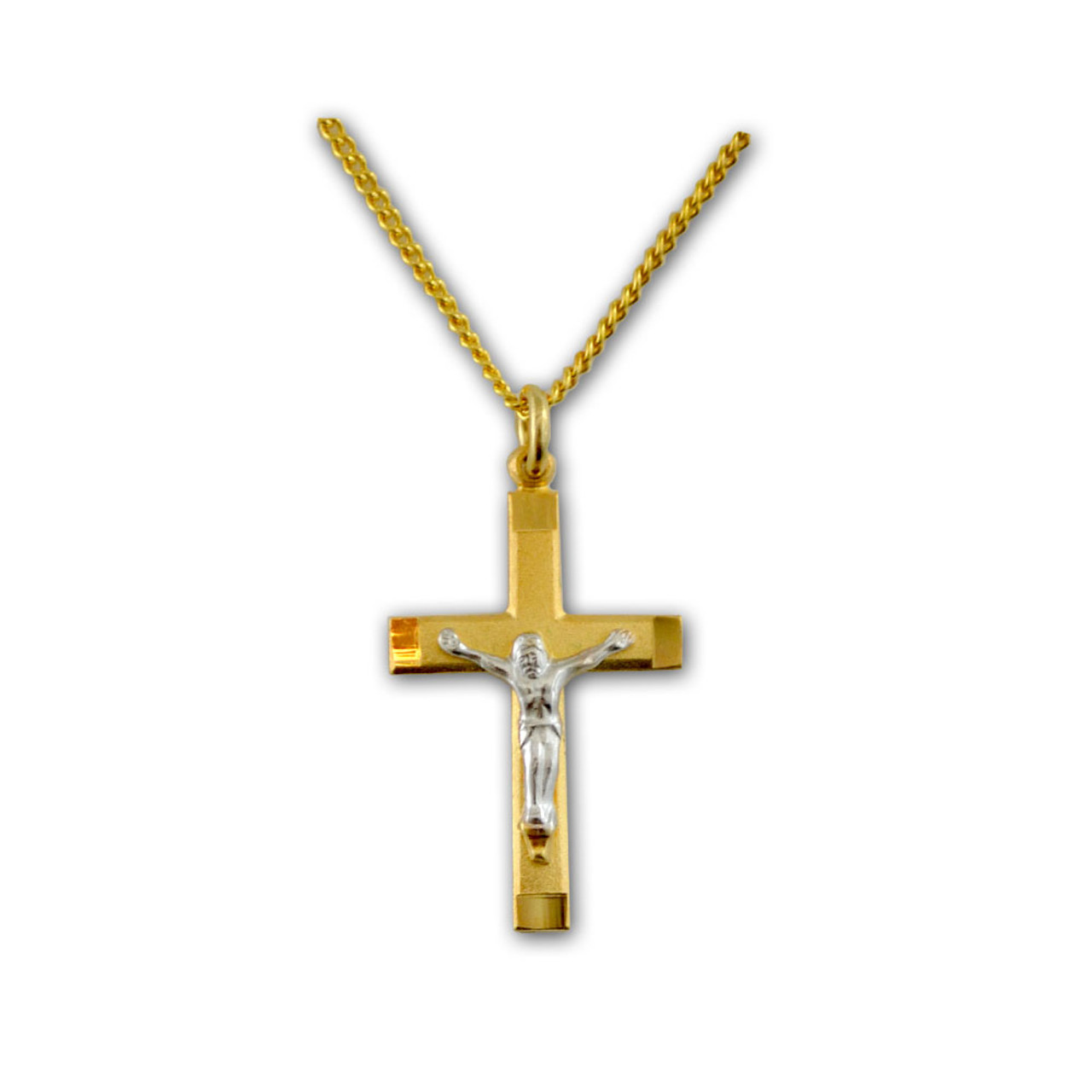 Silver and Gold Crucifix Pendant