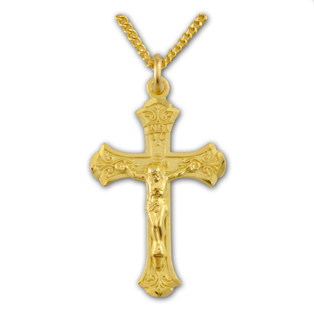 """Ornate Crucifix Necklace, 18"""" Chain"""