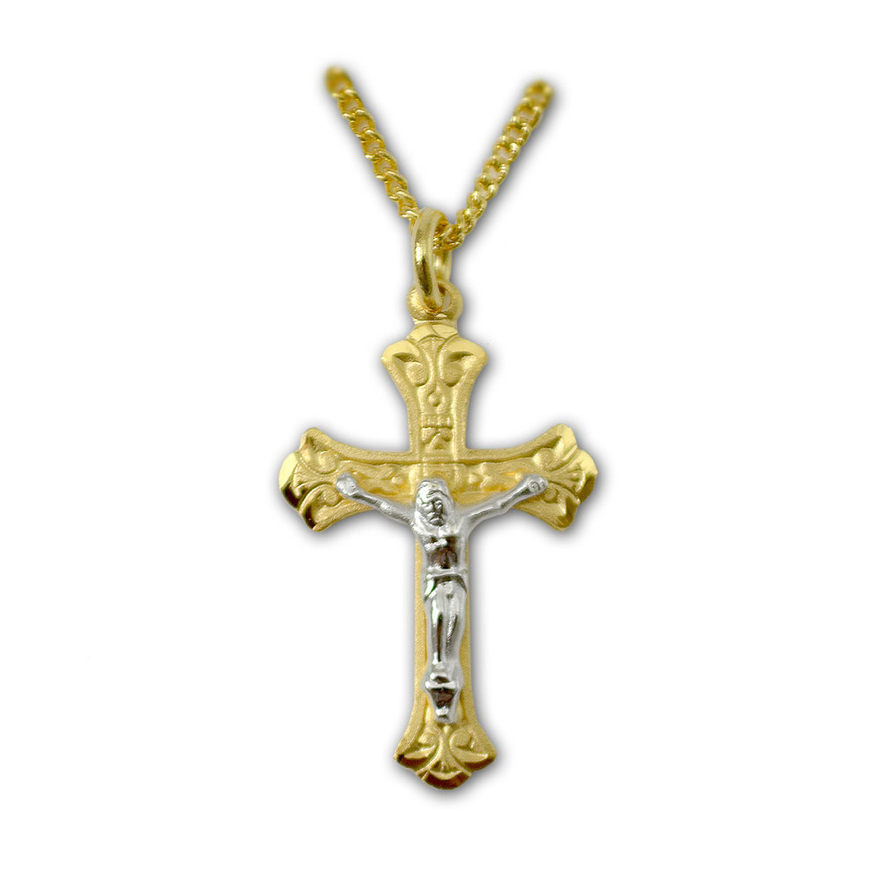 Gold and Silver Two-Tone Crucifix Necklace on 18 Inch Chain