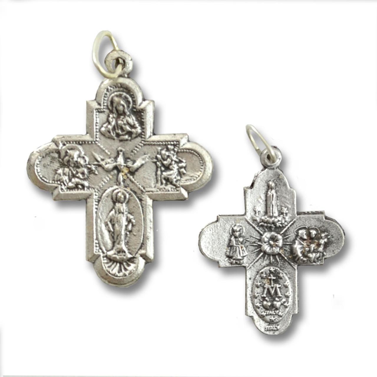"1"" Two-Sided Silver Oxidized 4-Way Cross"