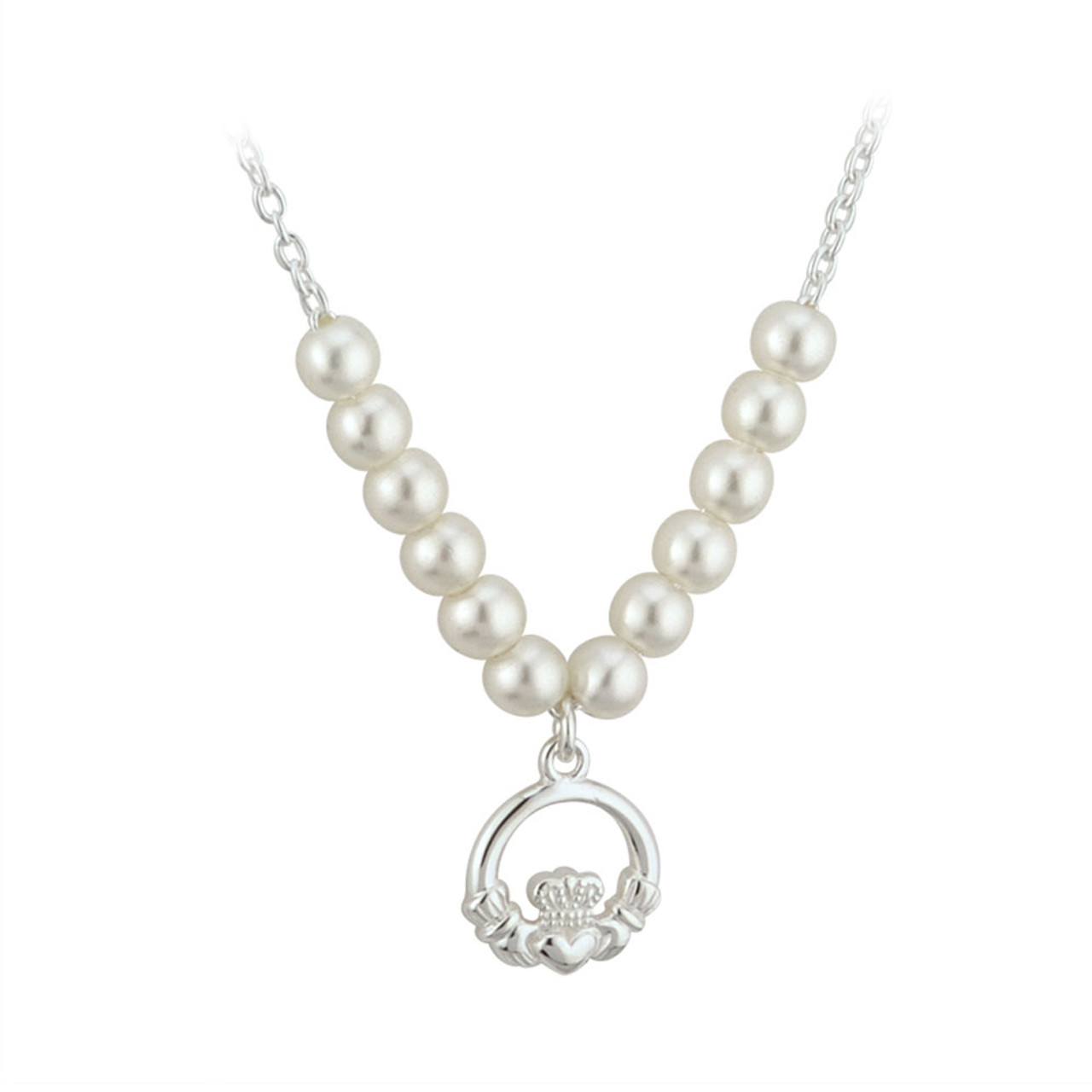 Child's Silver Plated Pearl and Claddagh Necklace