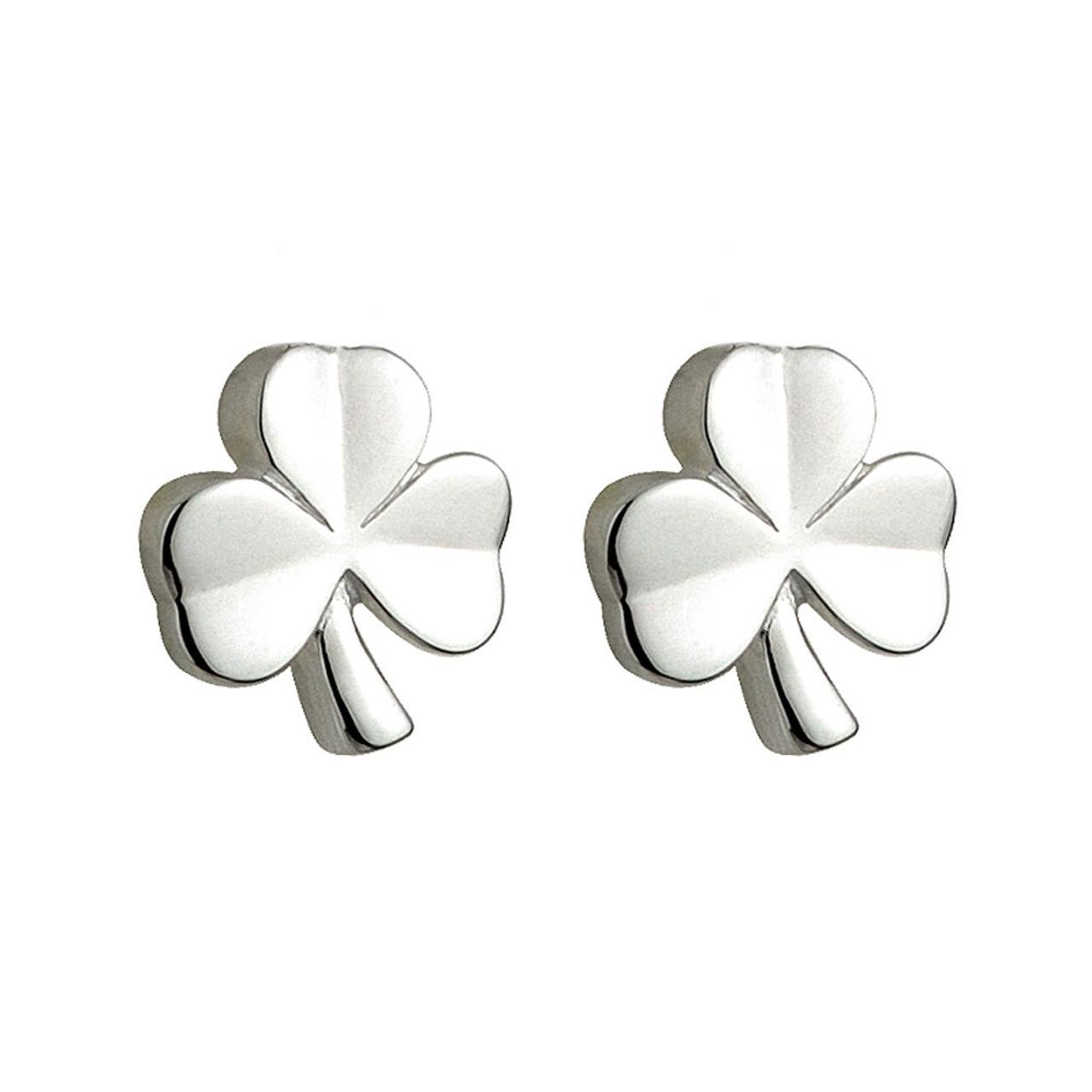 Sterling Silver Irish Shamrock Stud Earrings